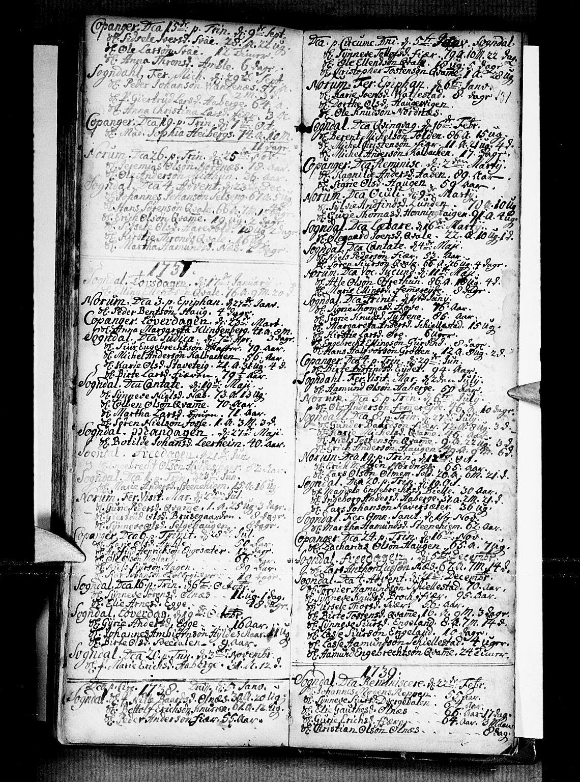 SAB, Sogndal sokneprestembete, H/Haa/Haaa/L0002: Ministerialbok nr. A 2, 1725-1741, s. 131