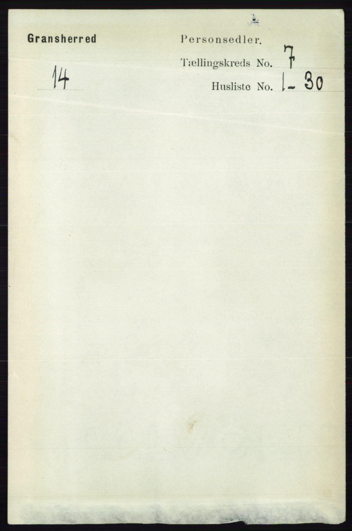 RA, Folketelling 1891 for 0824 Gransherad herred, 1891, s. 1189