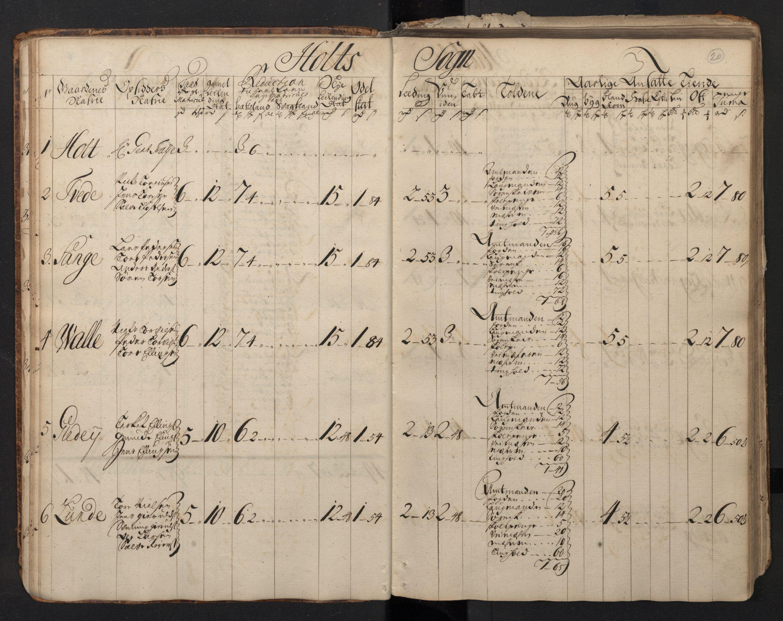 RA, Rentekammeret inntil 1814, Realistisk ordnet avdeling, N/Nb/Nbf/L0123: Nedenes matrikkelprotokoll, 1723, s. 19b-20a