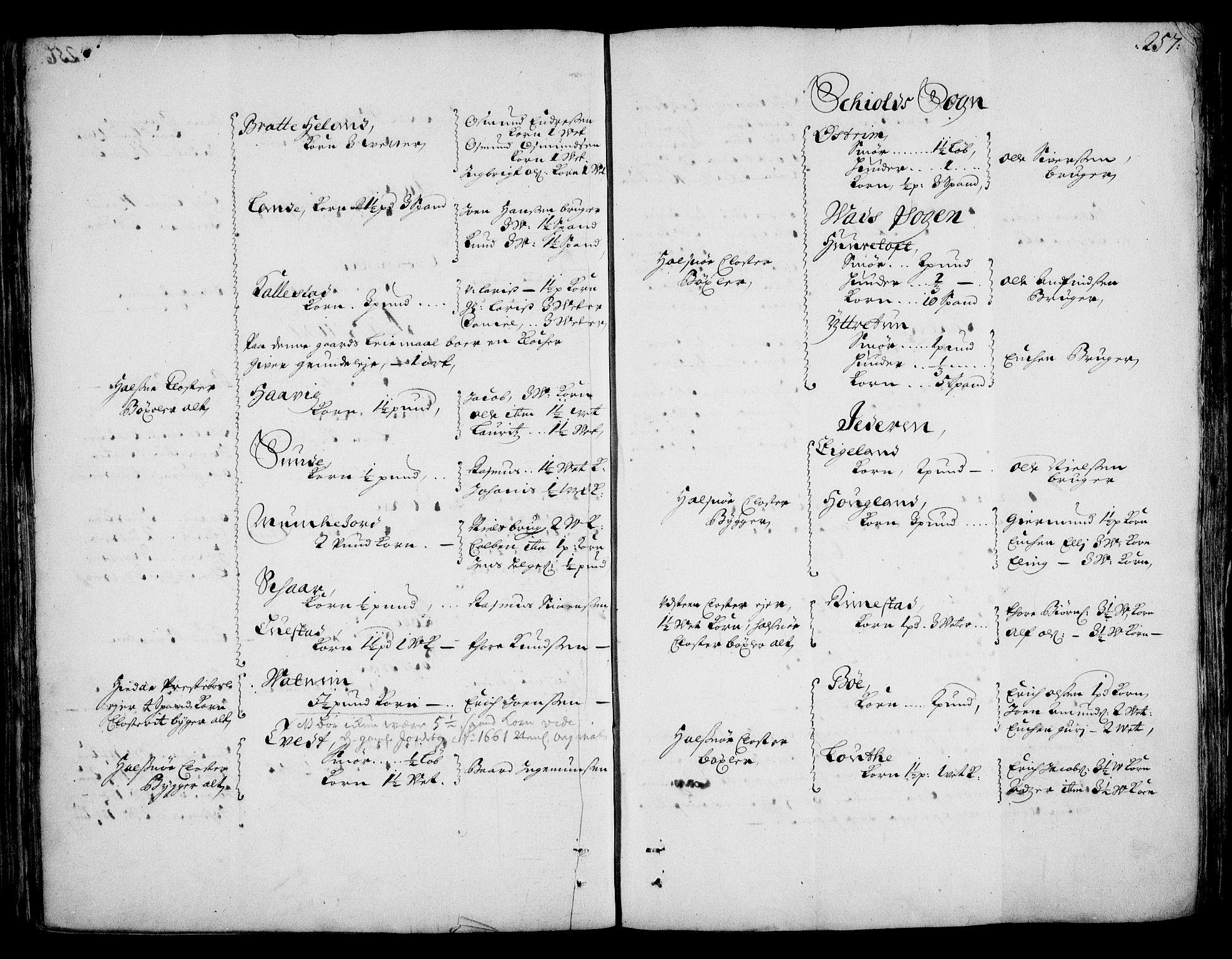 RA, Rentekammeret inntil 1814, Realistisk ordnet avdeling, On/L0002: [Jj 3]: Besiktigelsesforretninger over Halsnøy klosters gods, 1659-1703, s. 256b-257a