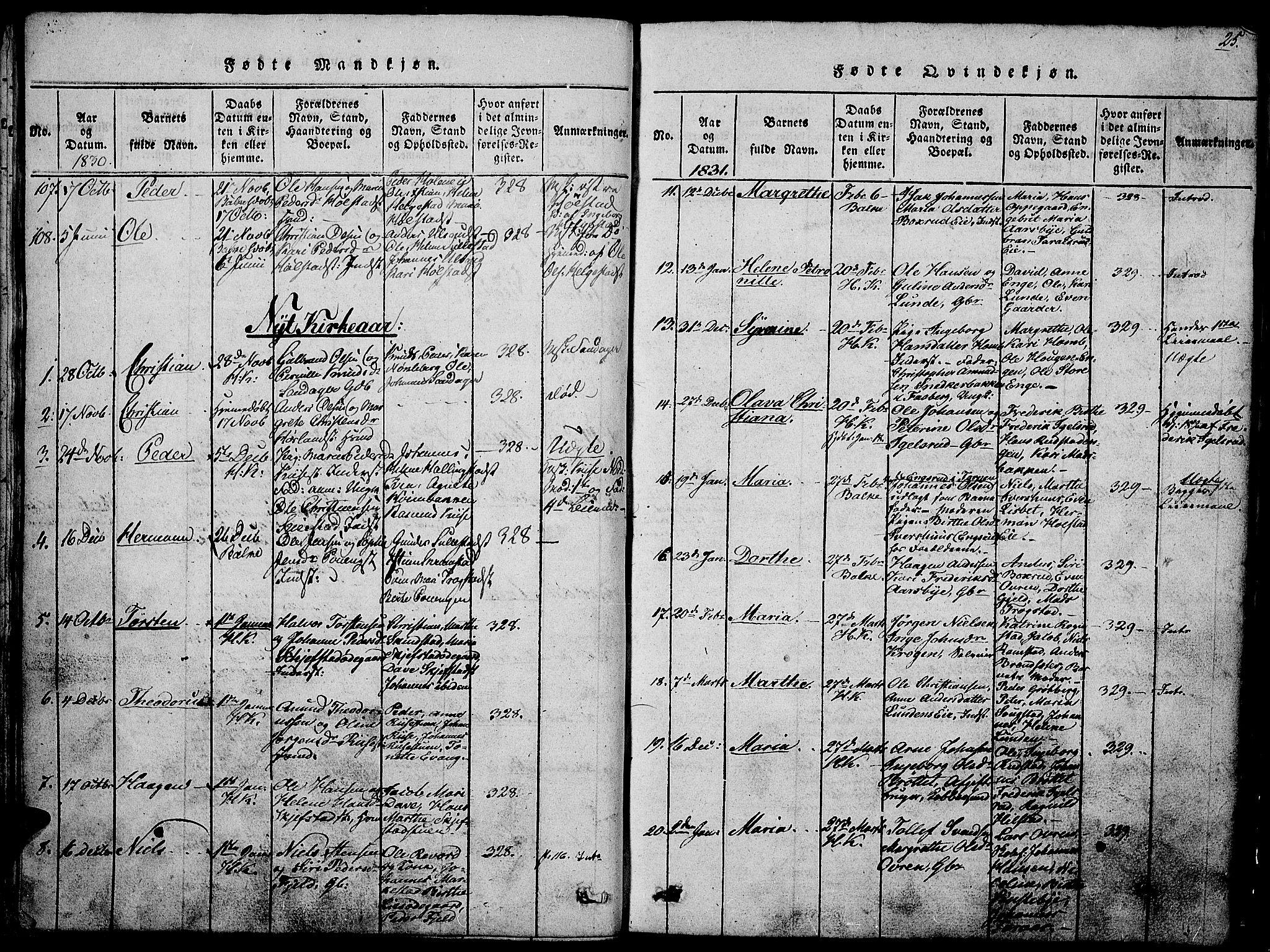 SAH, Østre Toten prestekontor, Klokkerbok nr. 1, 1827-1839, s. 25