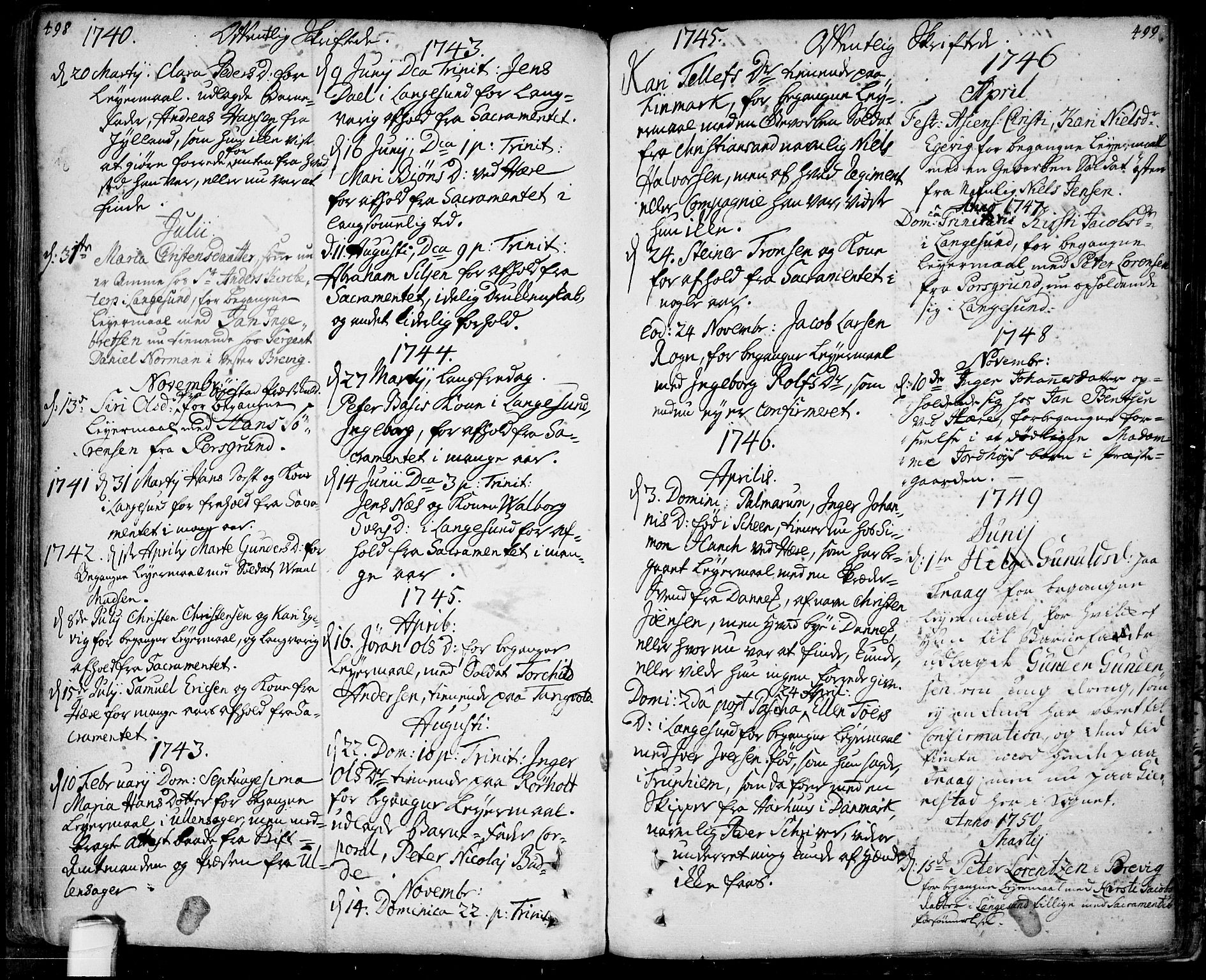 SAKO, Bamble kirkebøker, F/Fa/L0001: Ministerialbok nr. I 1, 1702-1774, s. 498-499