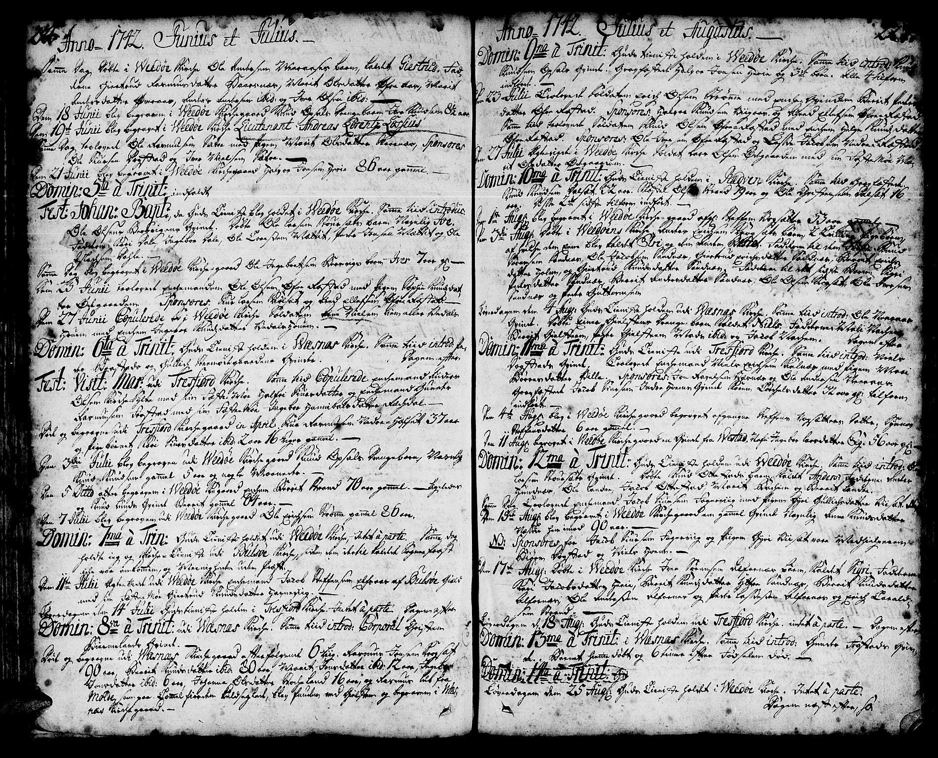 SAT, Ministerialprotokoller, klokkerbøker og fødselsregistre - Møre og Romsdal, 547/L0599: Ministerialbok nr. 547A01, 1721-1764, s. 226-227