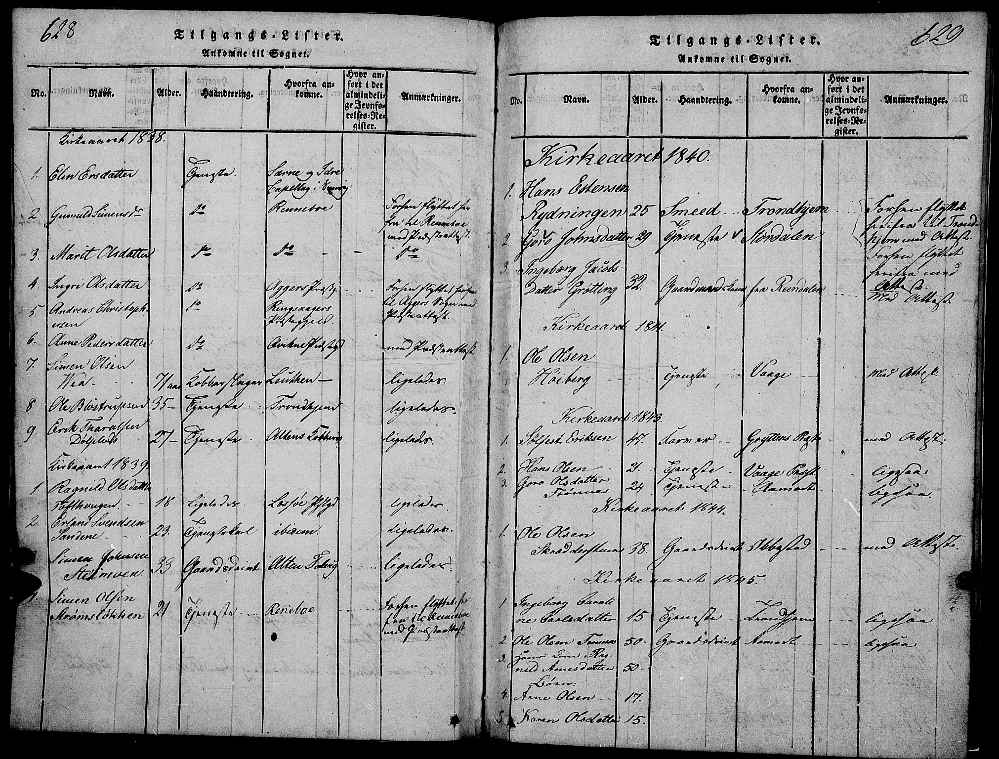SAH, Tynset prestekontor, Klokkerbok nr. 2, 1814-1862, s. 628-629