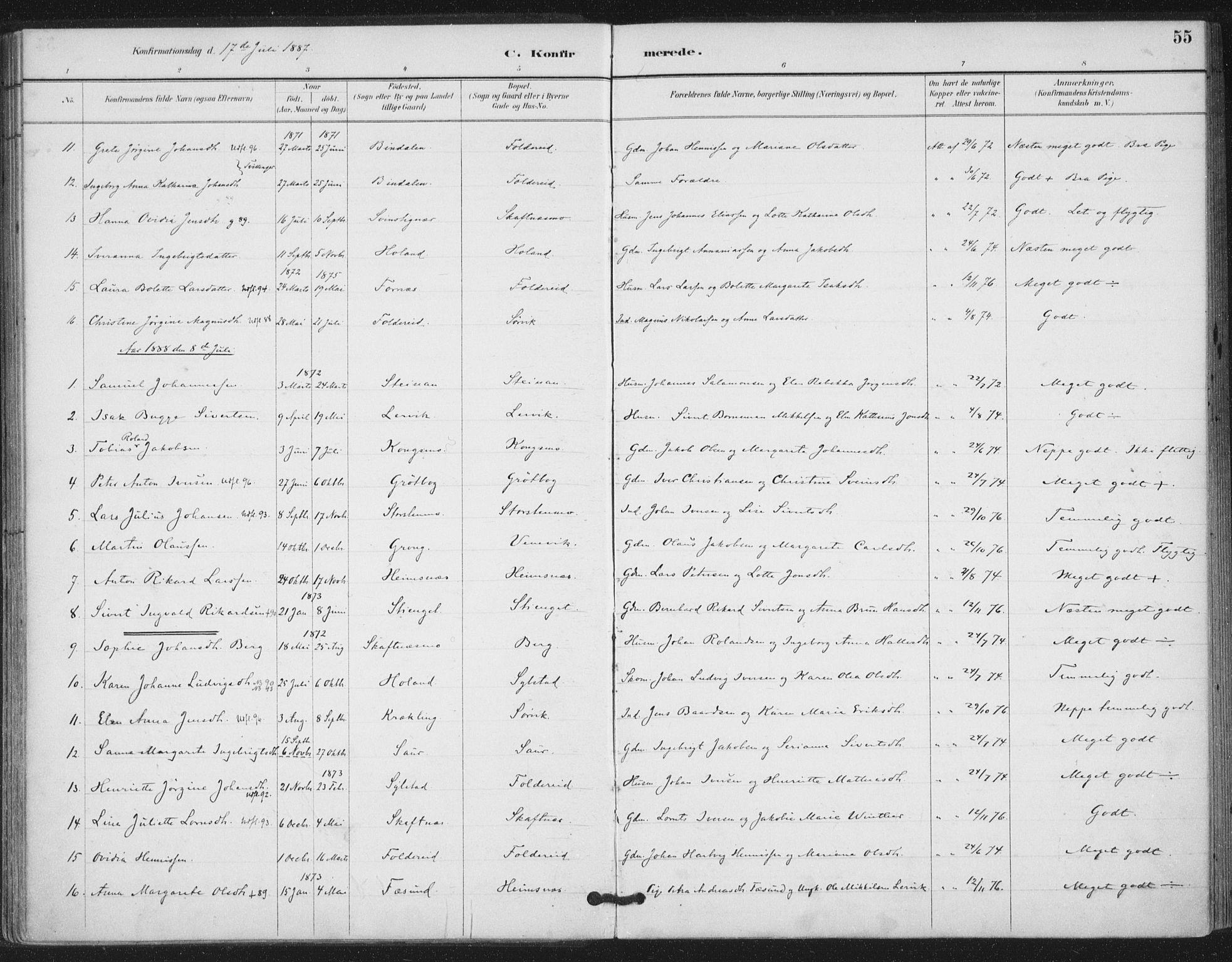 SAT, Ministerialprotokoller, klokkerbøker og fødselsregistre - Nord-Trøndelag, 783/L0660: Ministerialbok nr. 783A02, 1886-1918, s. 55