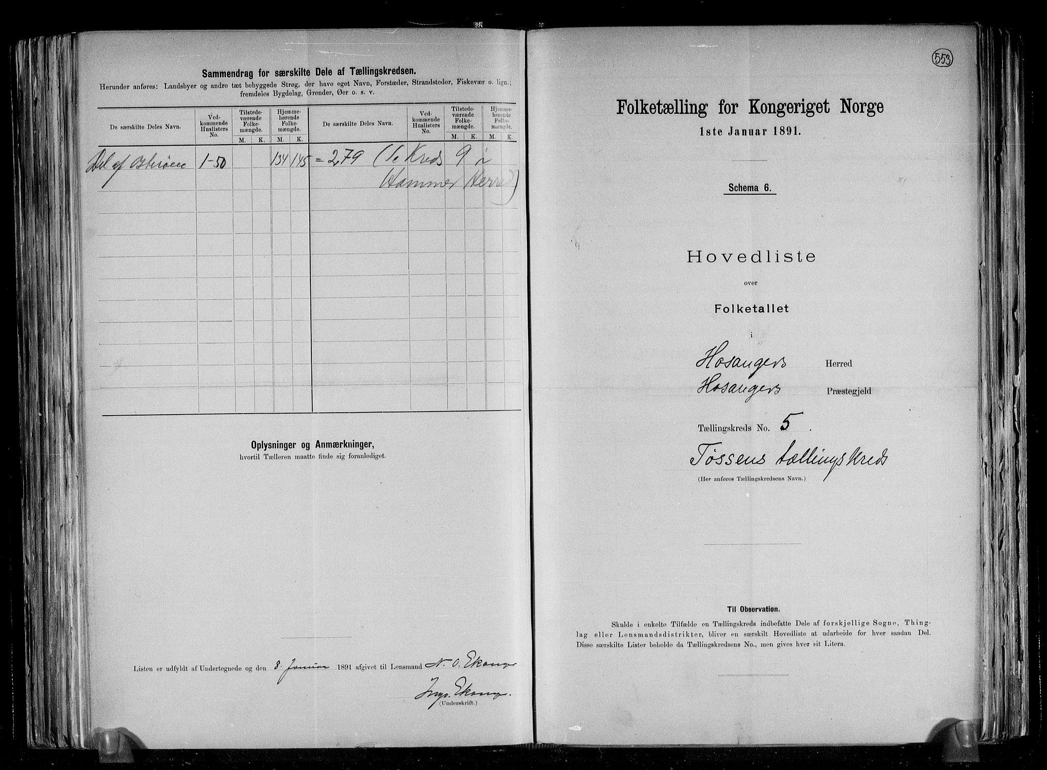 RA, Folketelling 1891 for 1253 Hosanger herred, 1891, s. 12