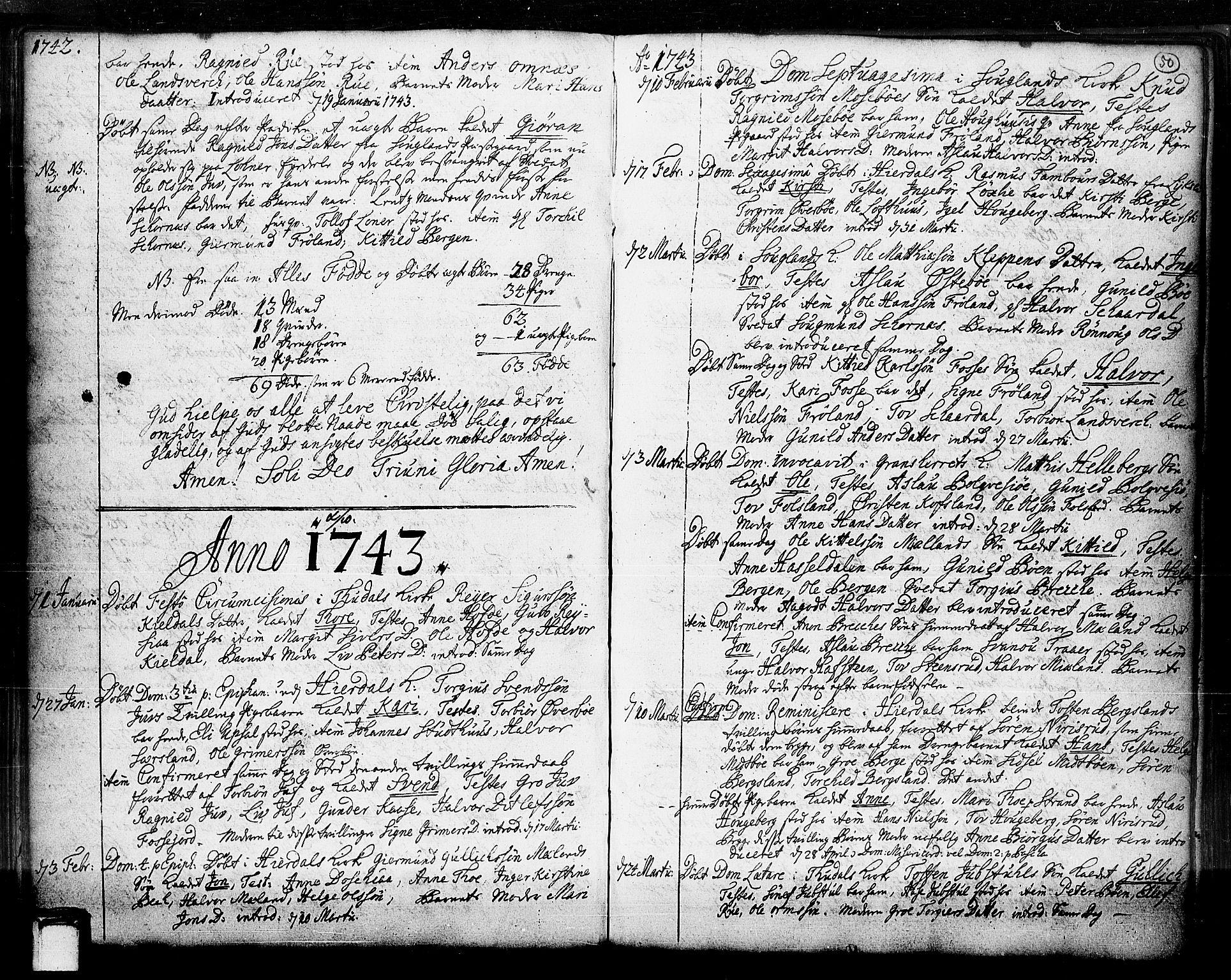 SAKO, Hjartdal kirkebøker, F/Fa/L0003: Ministerialbok nr. I 3, 1727-1775, s. 50