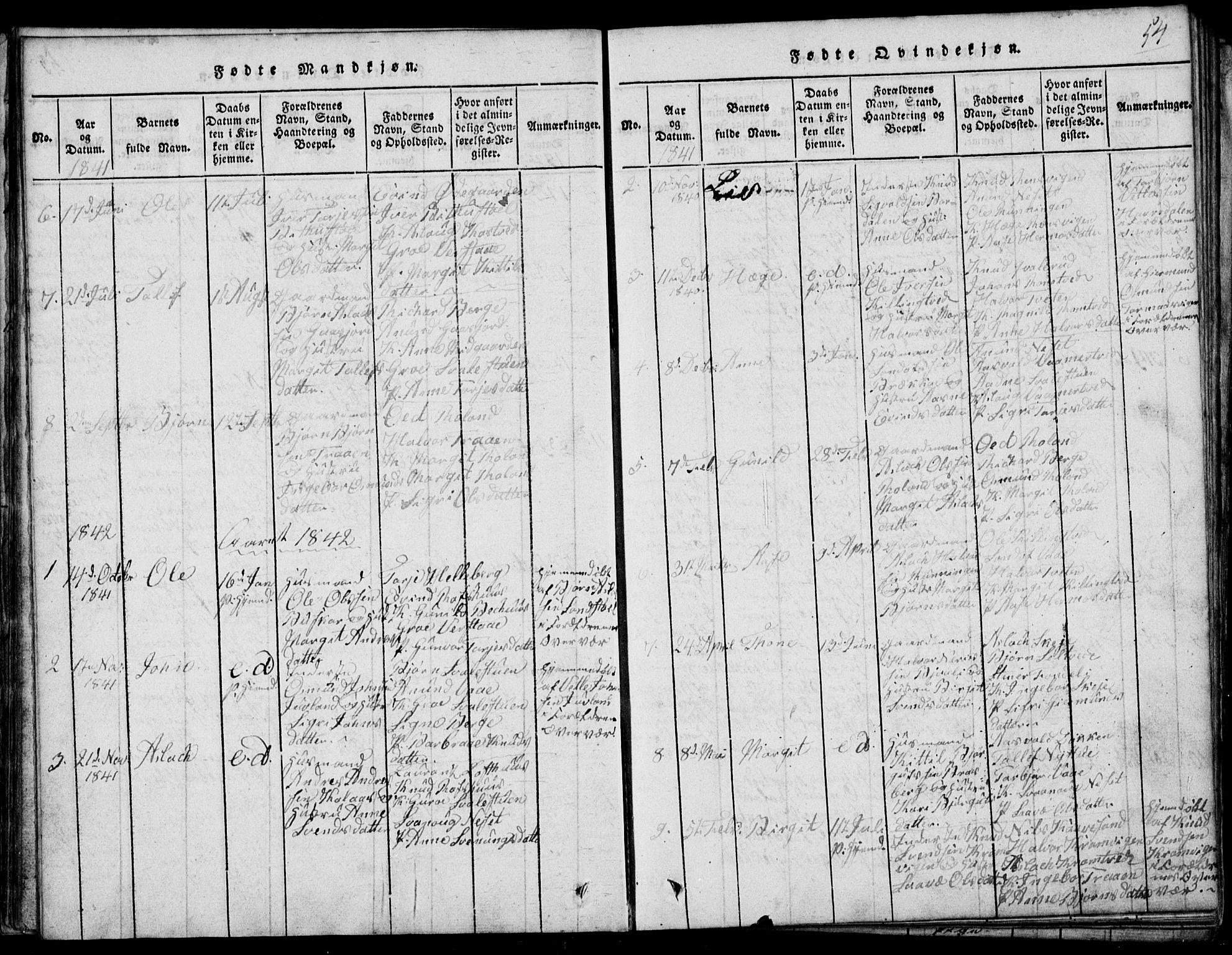SAKO, Rauland kirkebøker, G/Ga/L0001: Klokkerbok nr. I 1, 1814-1843, s. 54