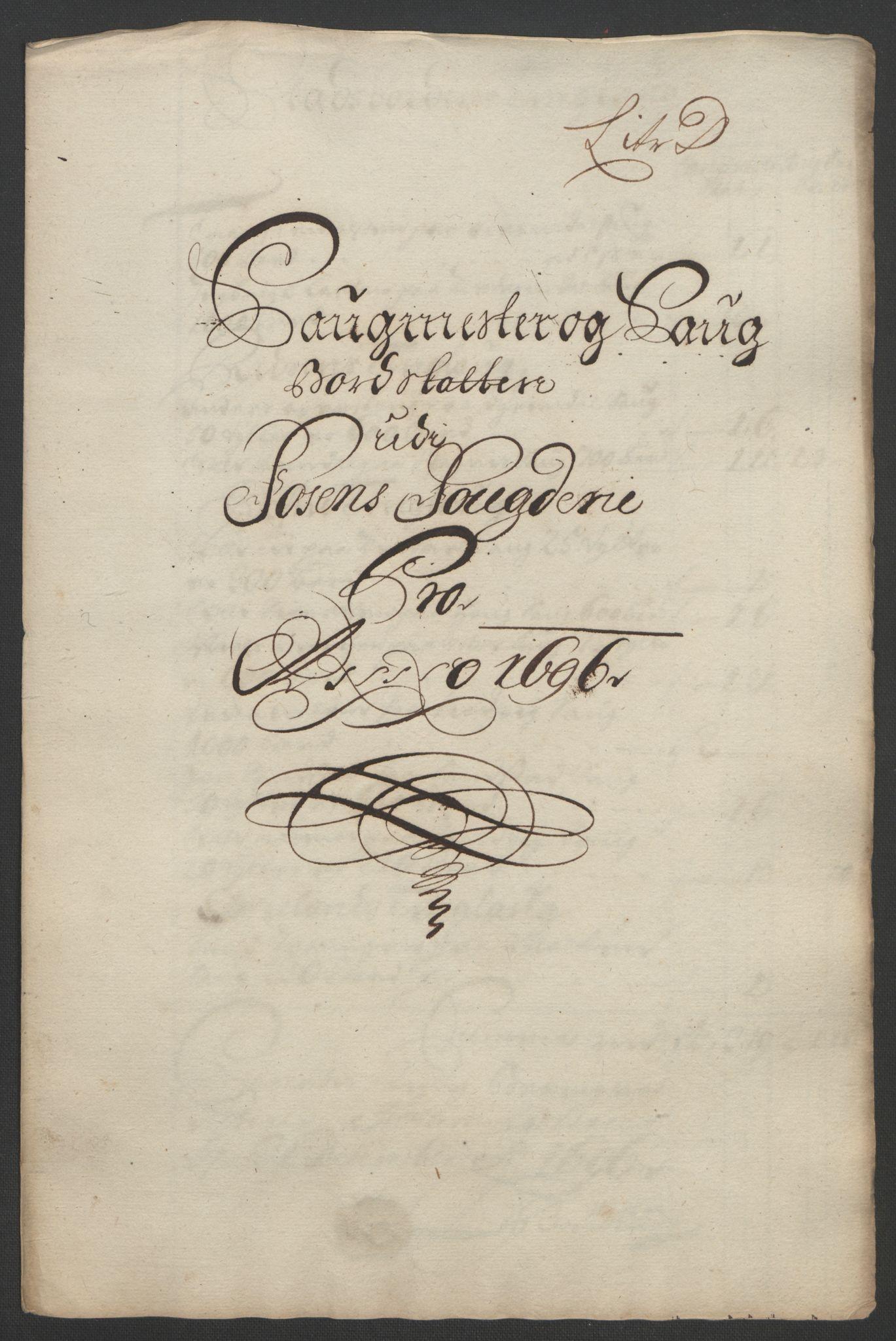 RA, Rentekammeret inntil 1814, Reviderte regnskaper, Fogderegnskap, R57/L3851: Fogderegnskap Fosen, 1695-1696, s. 244