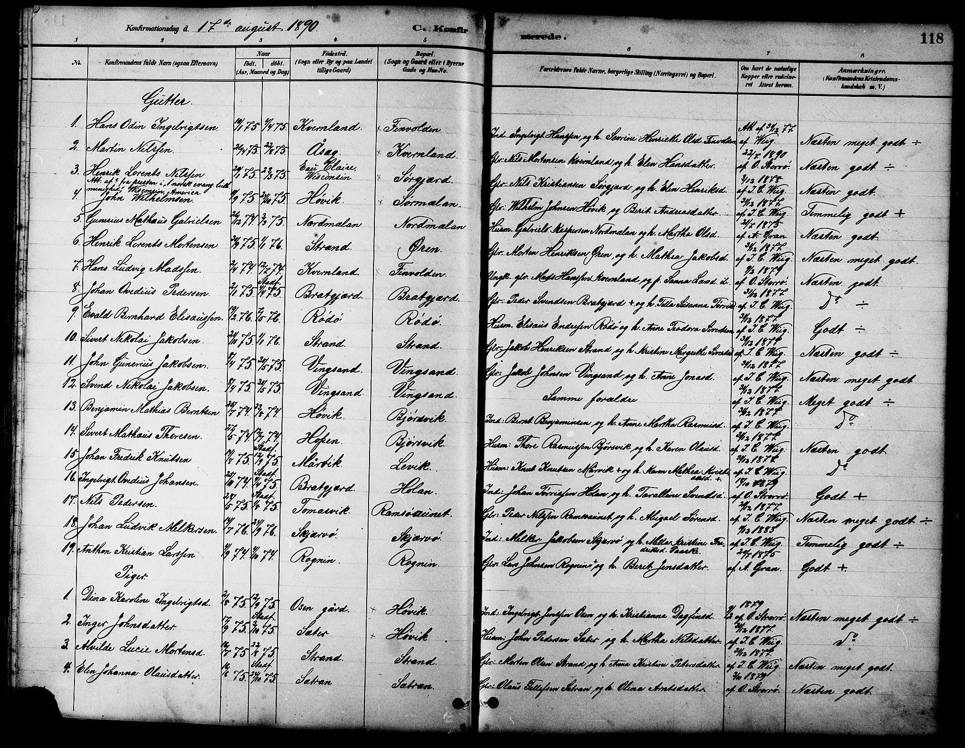 SAT, Ministerialprotokoller, klokkerbøker og fødselsregistre - Sør-Trøndelag, 658/L0726: Klokkerbok nr. 658C02, 1883-1908, s. 118