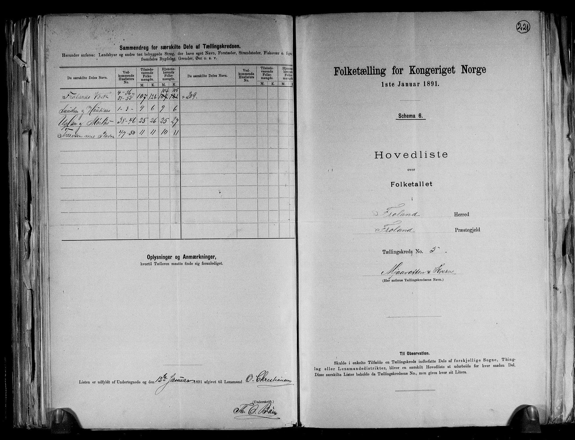 RA, Folketelling 1891 for 0919 Froland herred, 1891, s. 12