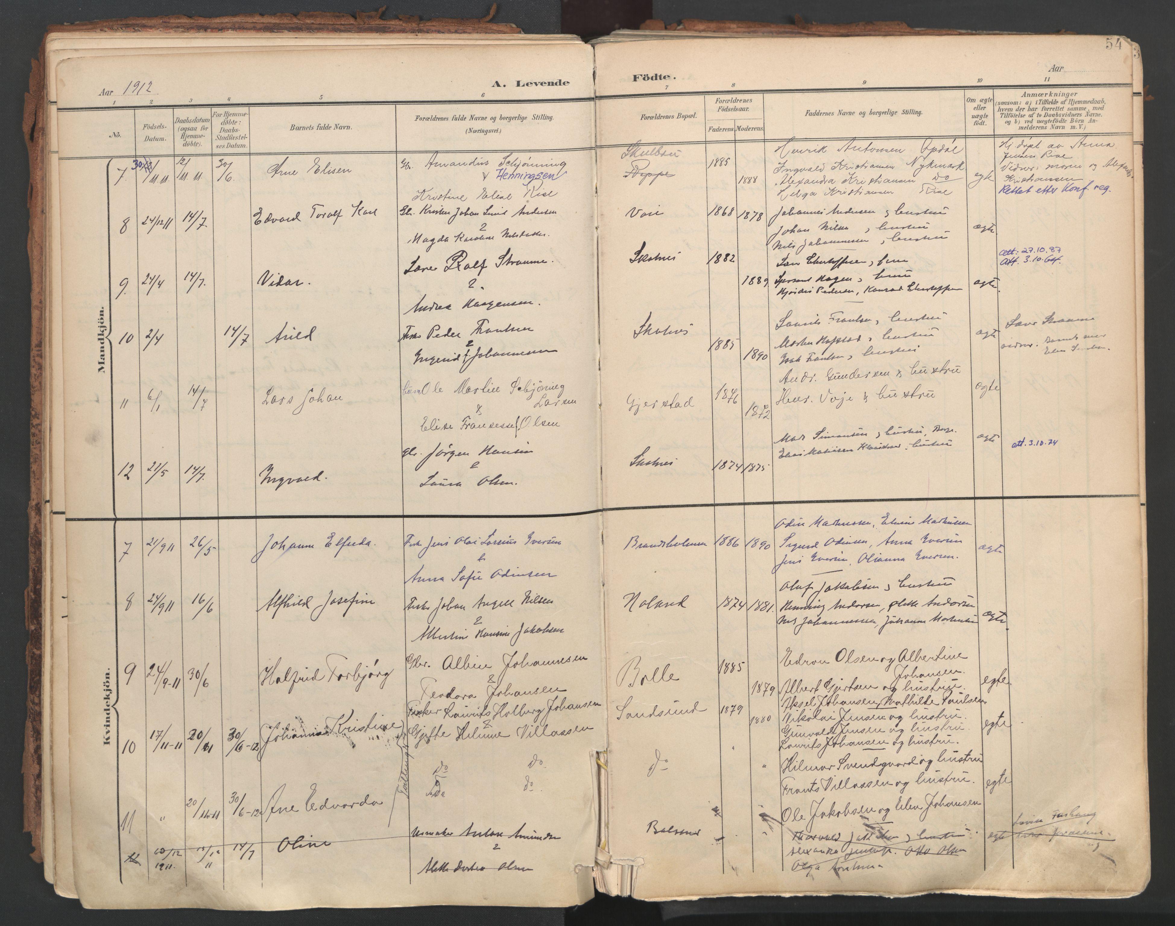 SAT, Ministerialprotokoller, klokkerbøker og fødselsregistre - Nordland, 881/L1154: Ministerialbok nr. 881A07, 1907-1918, s. 54