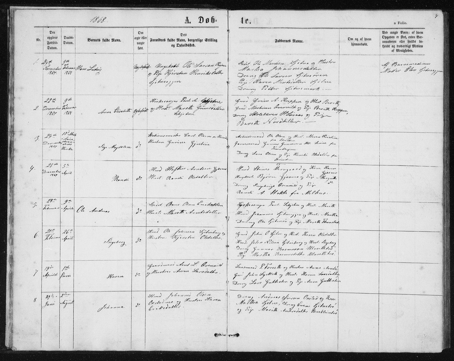 SAT, Ministerialprotokoller, klokkerbøker og fødselsregistre - Sør-Trøndelag, 621/L0459: Klokkerbok nr. 621C02, 1866-1895, s. 4