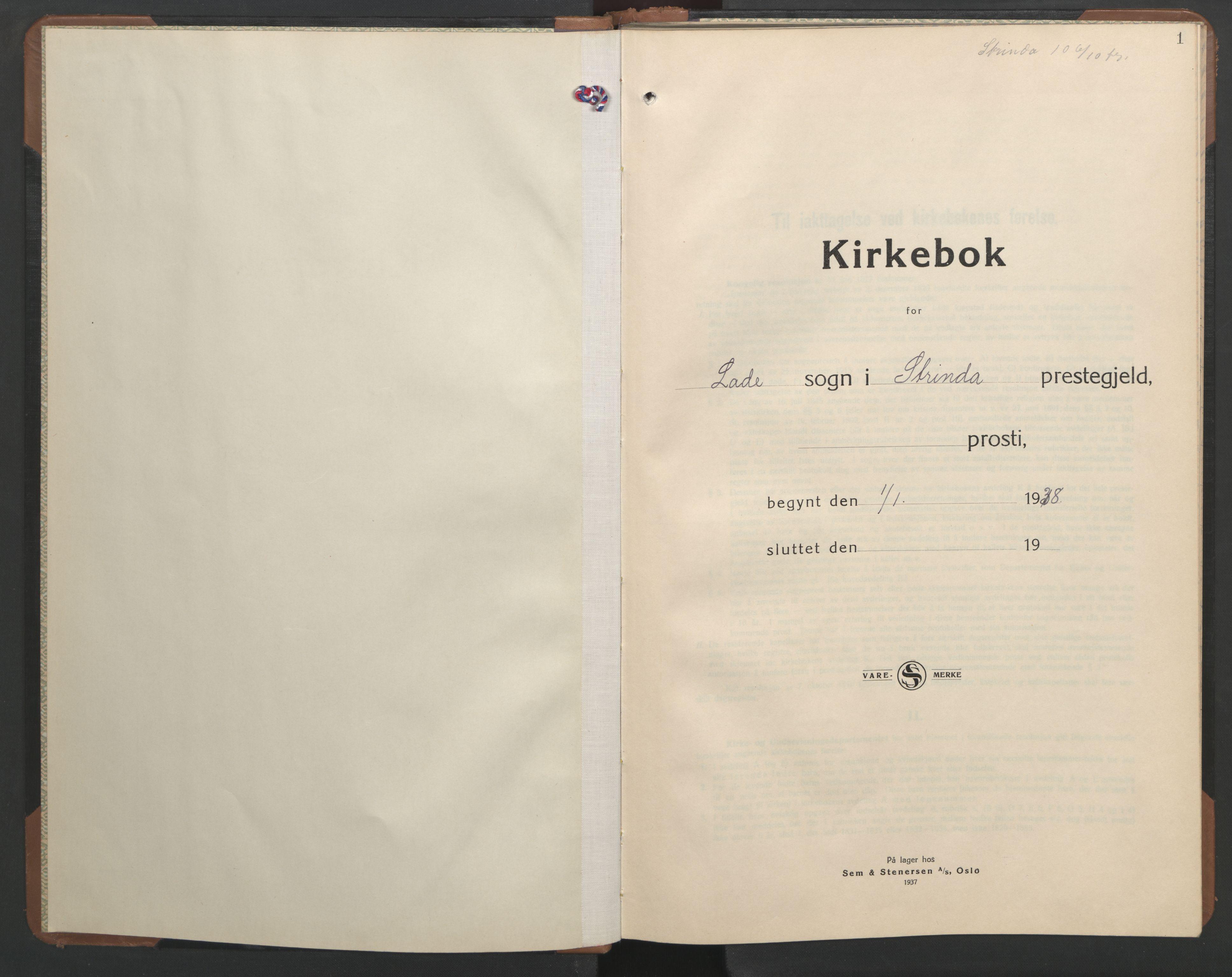SAT, Ministerialprotokoller, klokkerbøker og fødselsregistre - Sør-Trøndelag, 606/L0315: Klokkerbok nr. 606C11, 1938-1947, s. 1