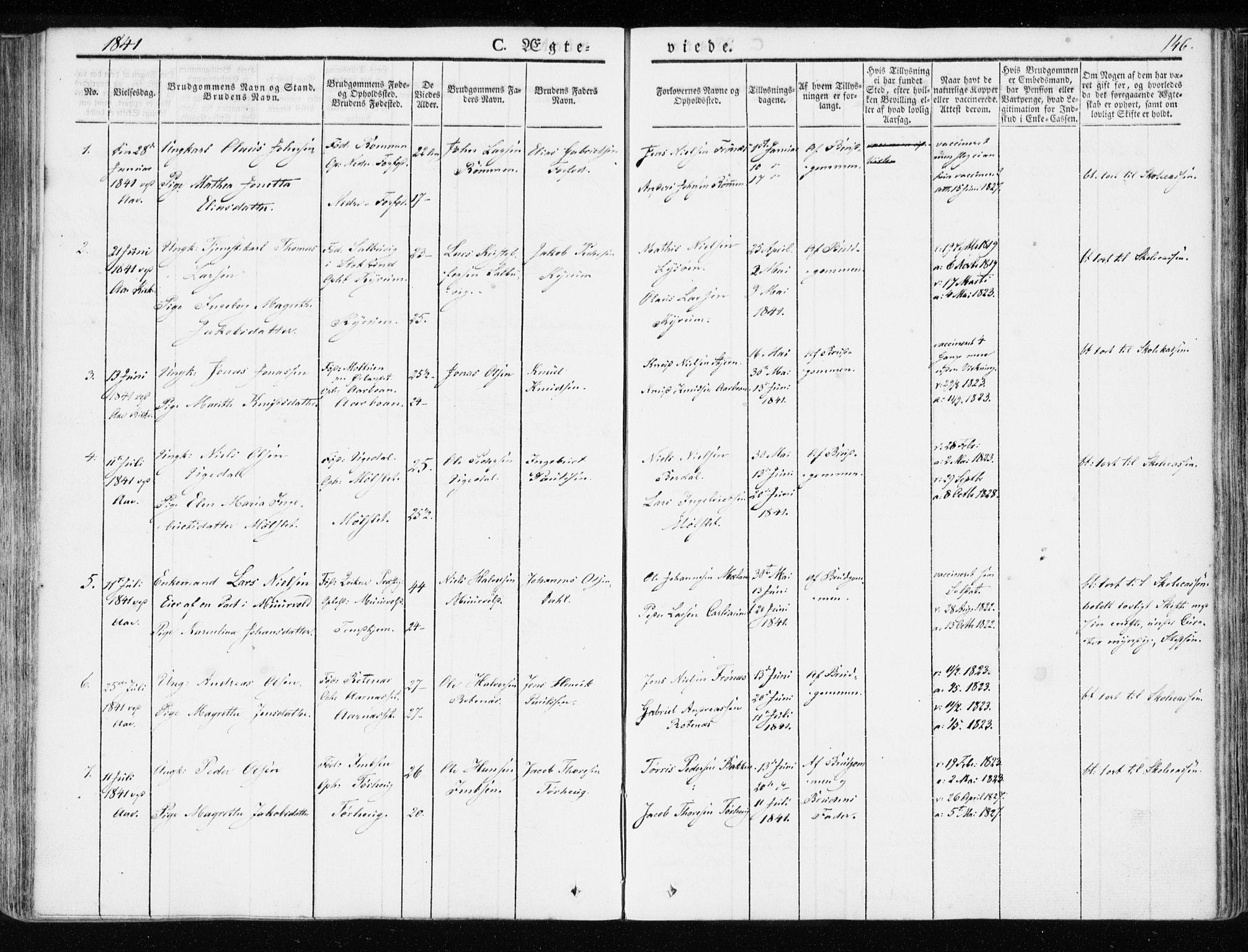 SAT, Ministerialprotokoller, klokkerbøker og fødselsregistre - Sør-Trøndelag, 655/L0676: Ministerialbok nr. 655A05, 1830-1847, s. 146
