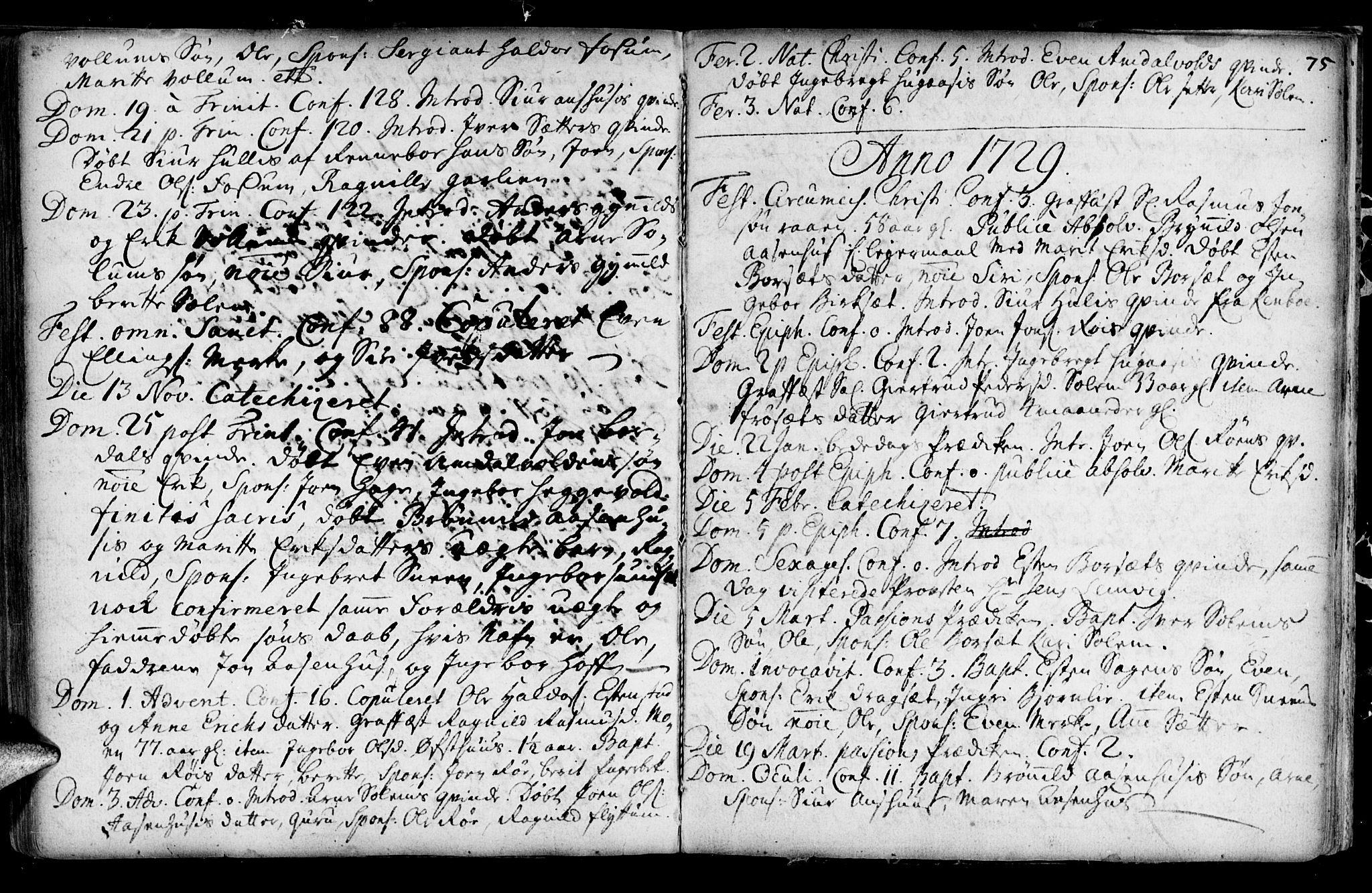 SAT, Ministerialprotokoller, klokkerbøker og fødselsregistre - Sør-Trøndelag, 689/L1036: Ministerialbok nr. 689A01, 1696-1746, s. 75
