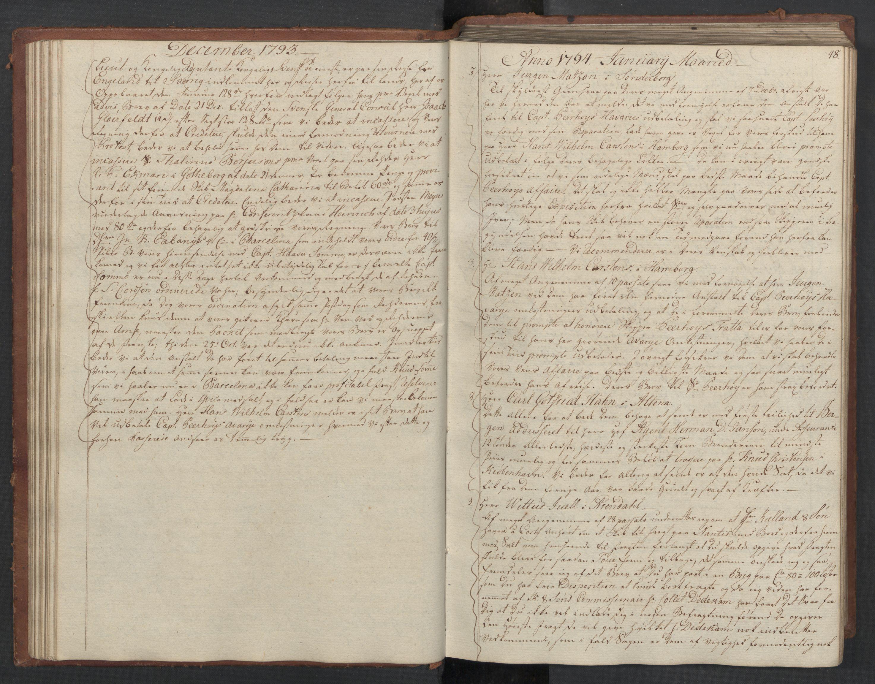 SAST, Pa 0003 - Ploug & Sundt, handelshuset, B/L0007: Kopibok, 1793-1797, s. 47b-48a