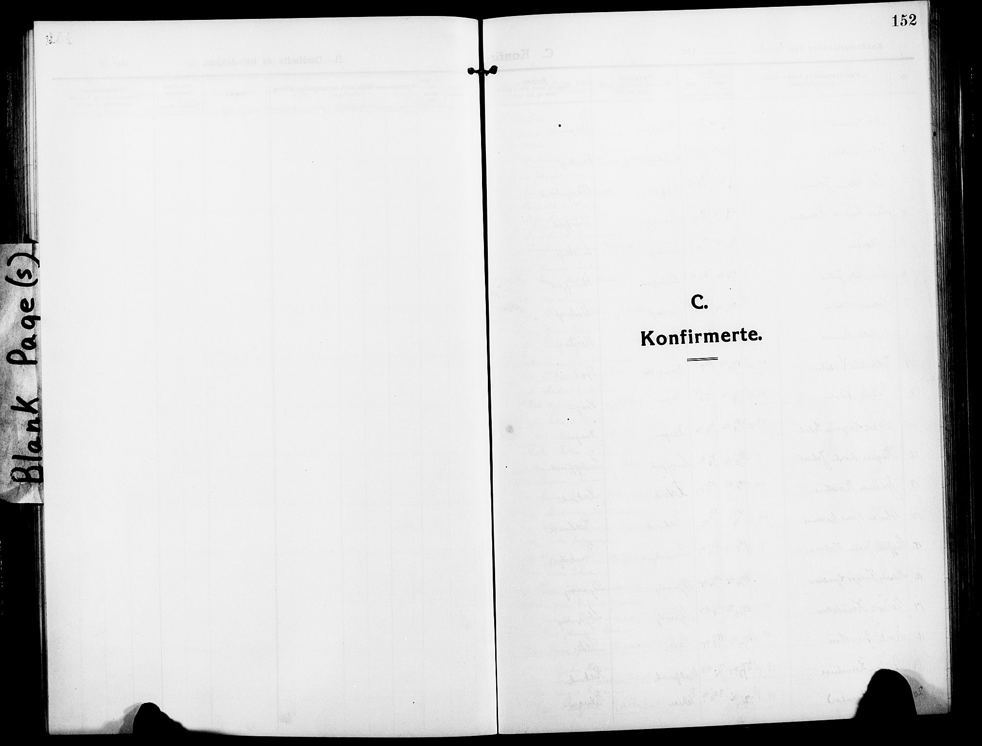 SATØ, Skjervøy sokneprestkontor, H/Ha/Hab/L0009klokker: Klokkerbok nr. 9, 1911-1926, s. 152