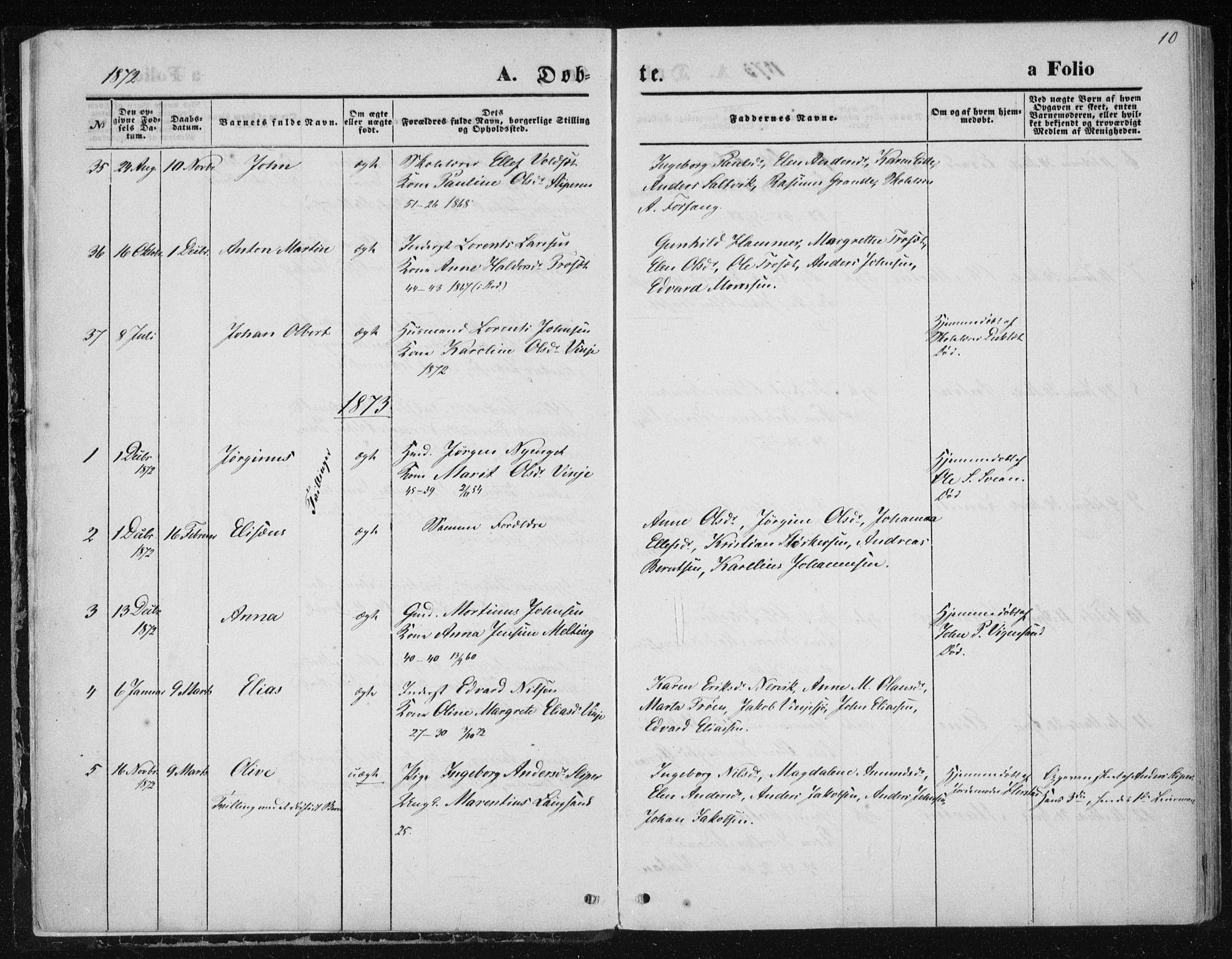 SAT, Ministerialprotokoller, klokkerbøker og fødselsregistre - Nord-Trøndelag, 733/L0324: Ministerialbok nr. 733A03, 1870-1883, s. 10