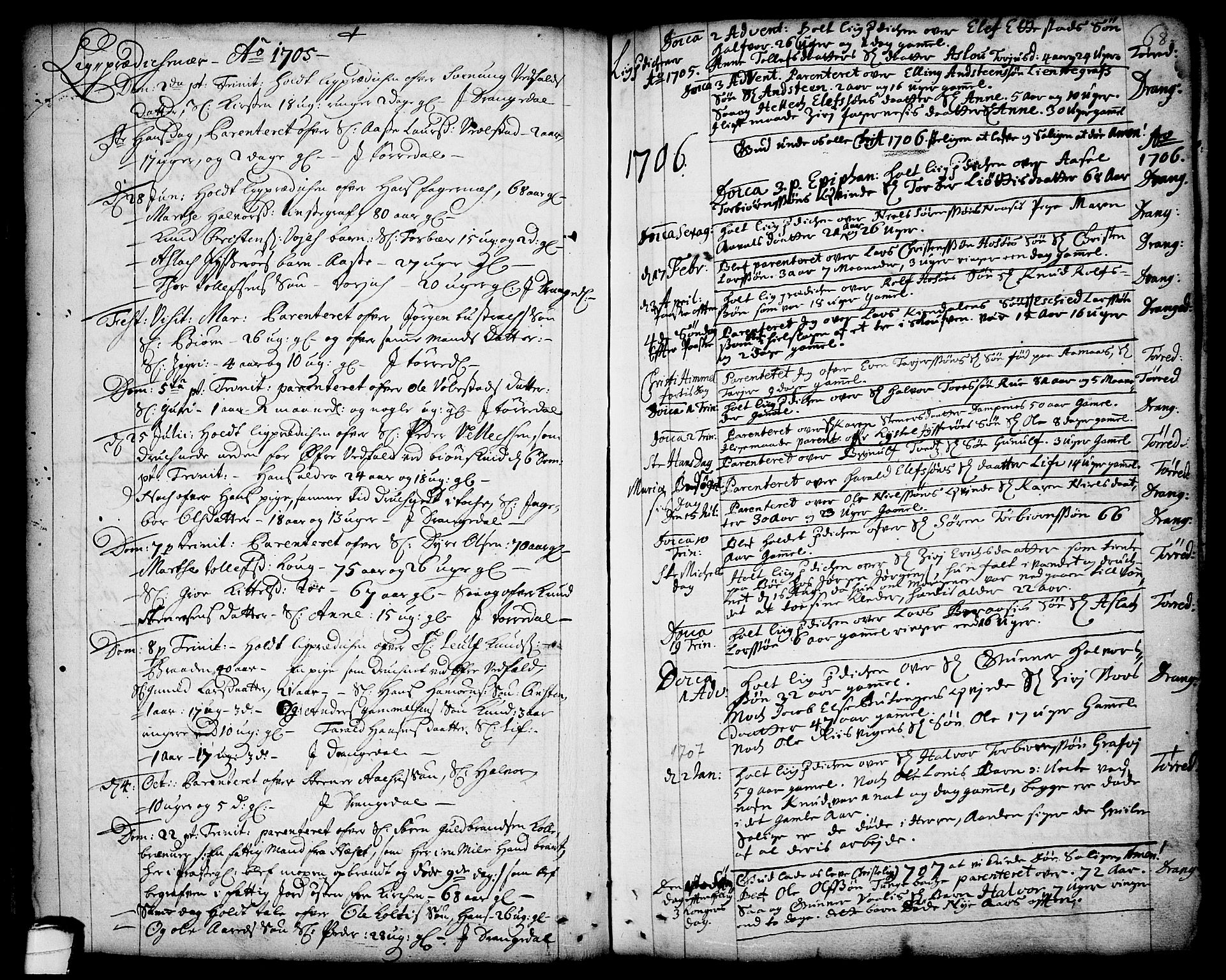 SAKO, Drangedal kirkebøker, F/Fa/L0001: Ministerialbok nr. 1, 1697-1767, s. 68