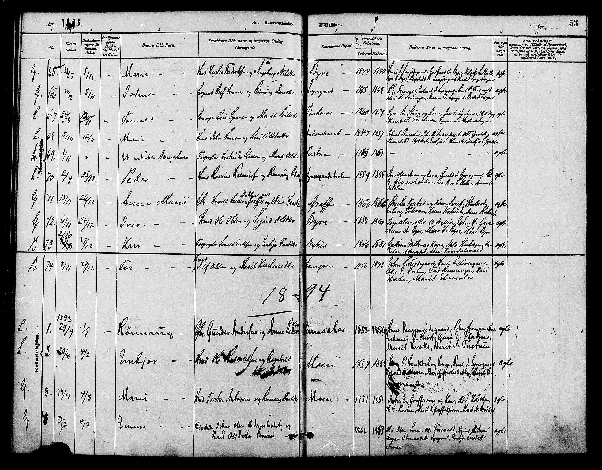 SAH, Lom prestekontor, K/L0008: Ministerialbok nr. 8, 1885-1898, s. 53