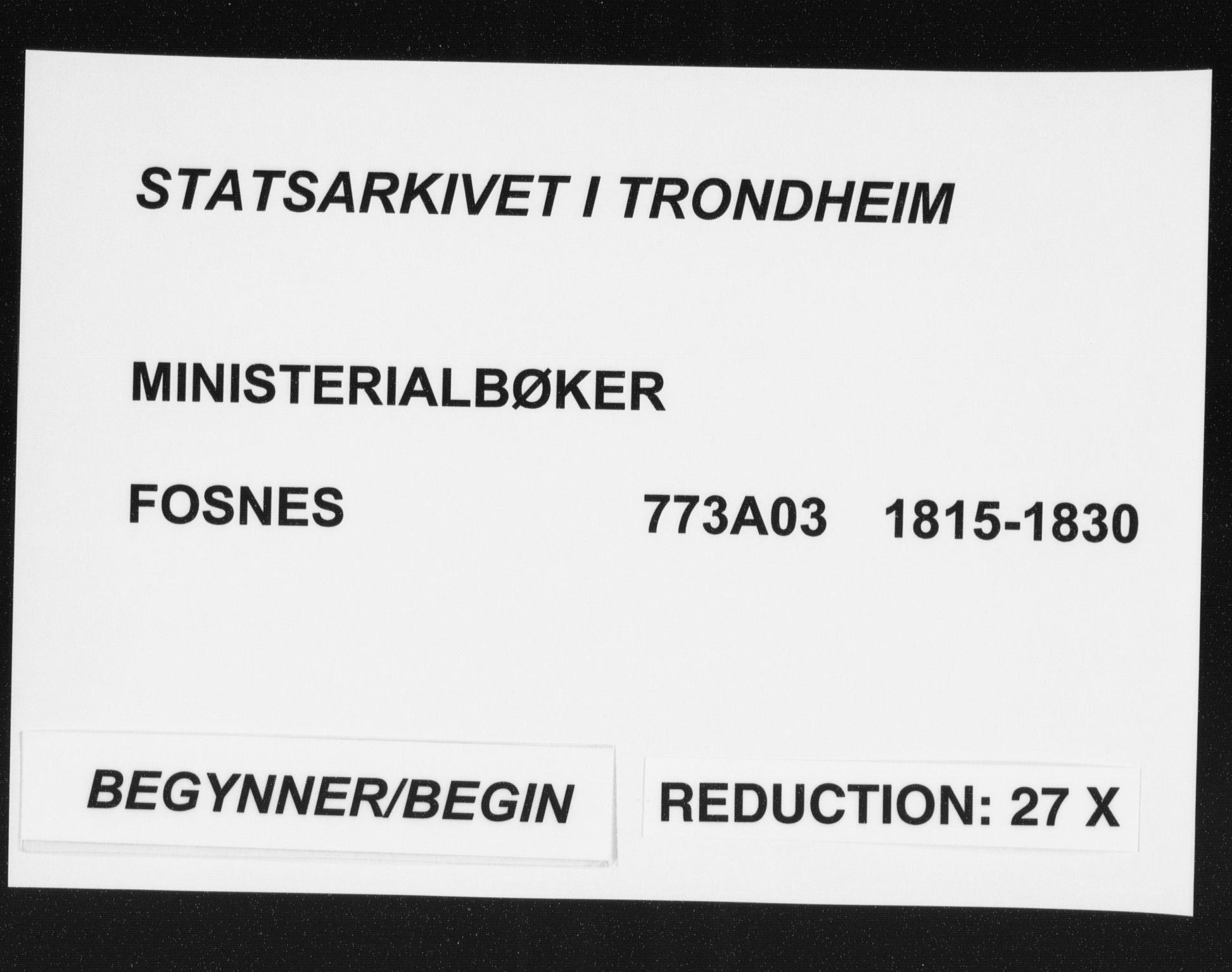 SAT, Ministerialprotokoller, klokkerbøker og fødselsregistre - Nord-Trøndelag, 773/L0609: Ministerialbok nr. 773A03 /1, 1815-1830