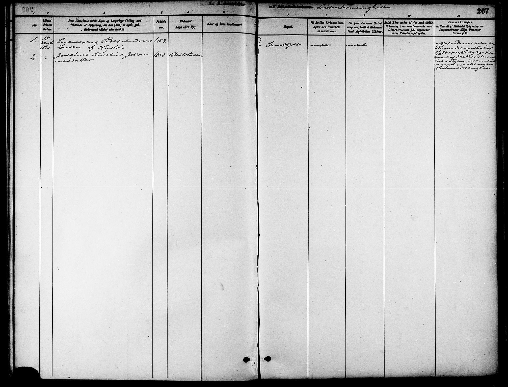 SAT, Ministerialprotokoller, klokkerbøker og fødselsregistre - Nord-Trøndelag, 739/L0371: Ministerialbok nr. 739A03, 1881-1895, s. 267