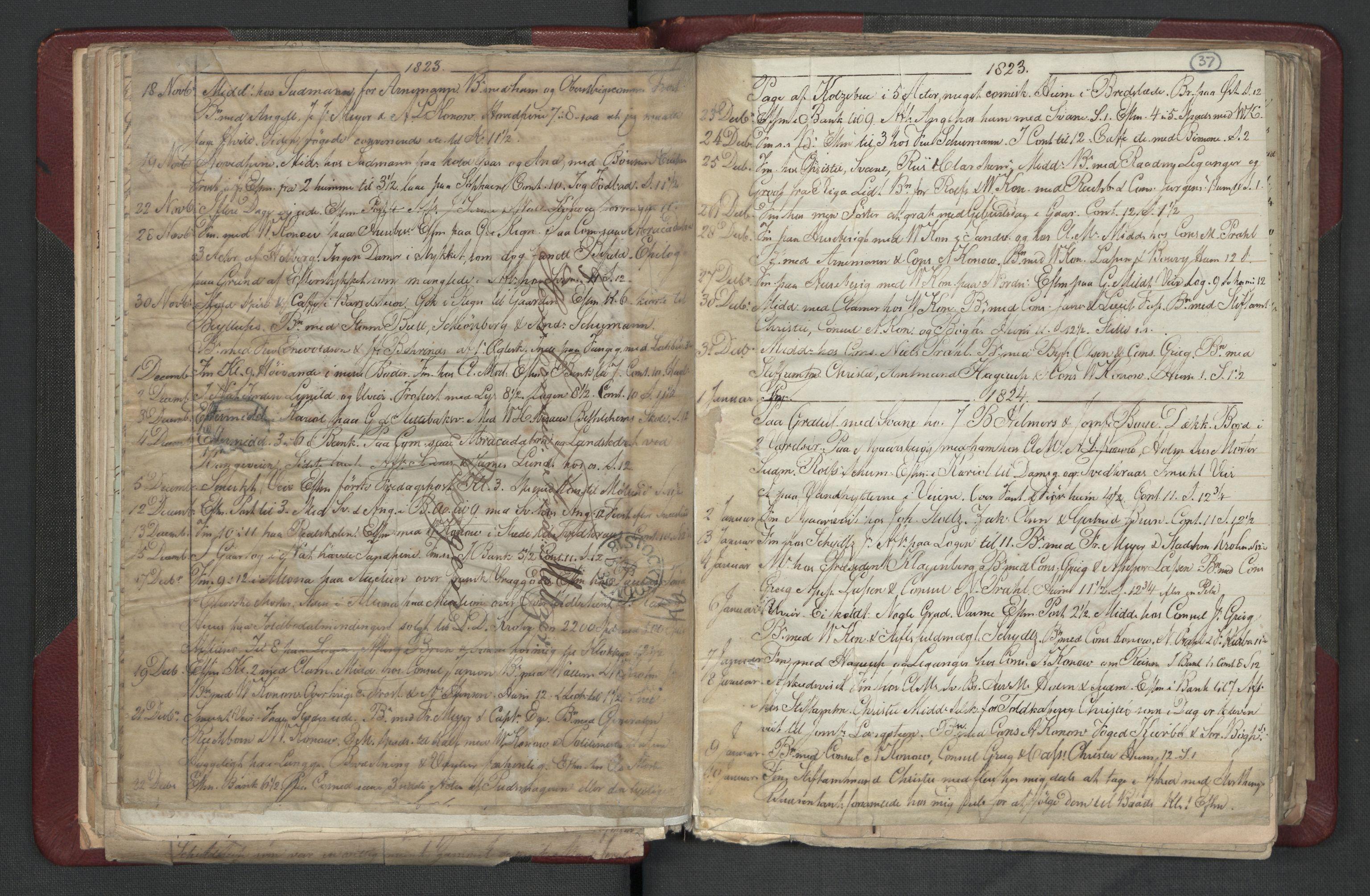 RA, Meltzer, Fredrik, F/L0003: Dagbok, 1821-1831, s. 36b-37a