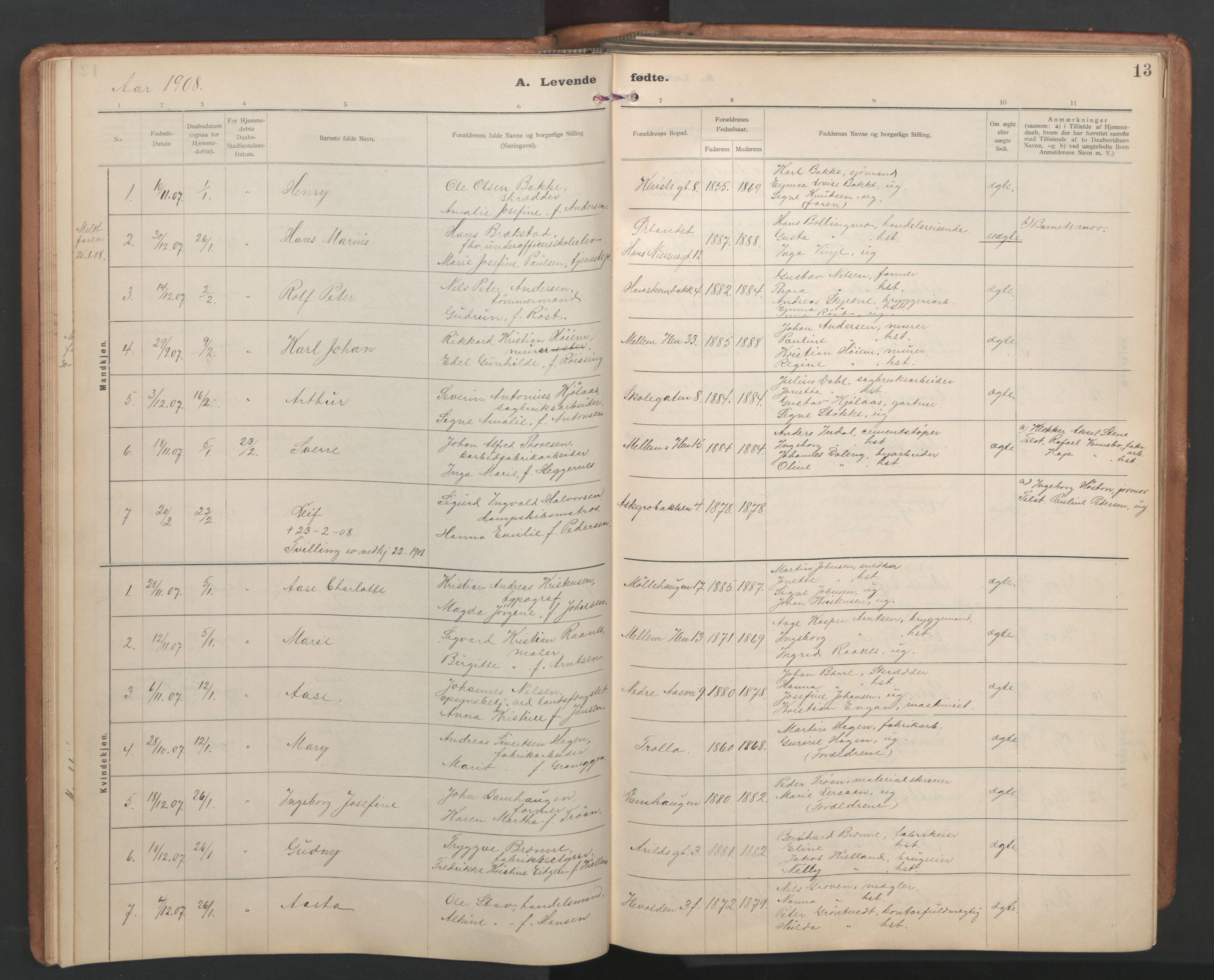 SAT, Ministerialprotokoller, klokkerbøker og fødselsregistre - Sør-Trøndelag, 603/L0173: Klokkerbok nr. 603C01, 1907-1962, s. 13