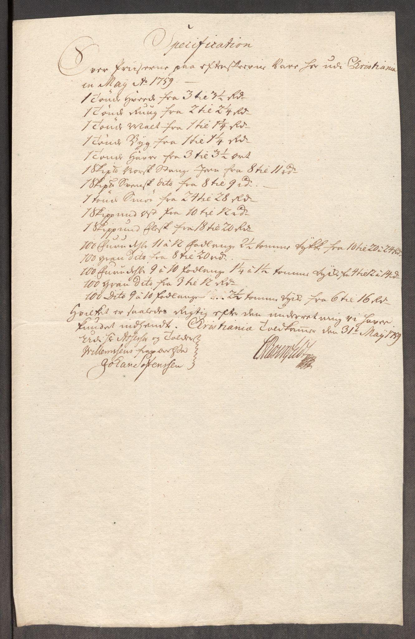 RA, Rentekammeret inntil 1814, Realistisk ordnet avdeling, Oe/L0006: [Ø1]: Priskuranter, 1758-1760, s. 429