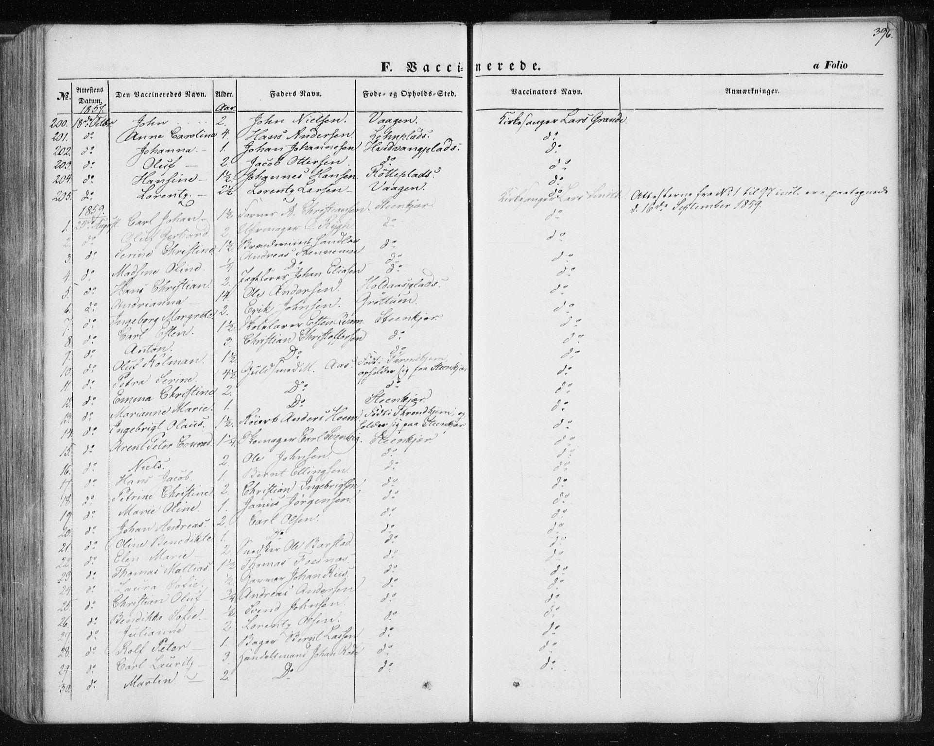SAT, Ministerialprotokoller, klokkerbøker og fødselsregistre - Nord-Trøndelag, 735/L0342: Ministerialbok nr. 735A07 /1, 1849-1862, s. 396