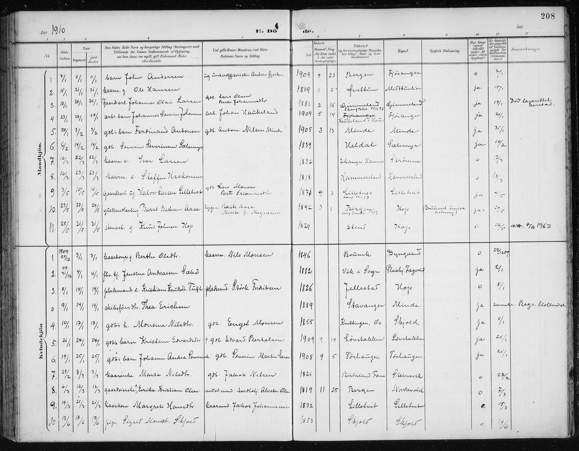 SAB, Fana Sokneprestembete, H/Haa/Haai/L0003: Ministerialbok nr. I 3, 1900-1912, s. 208