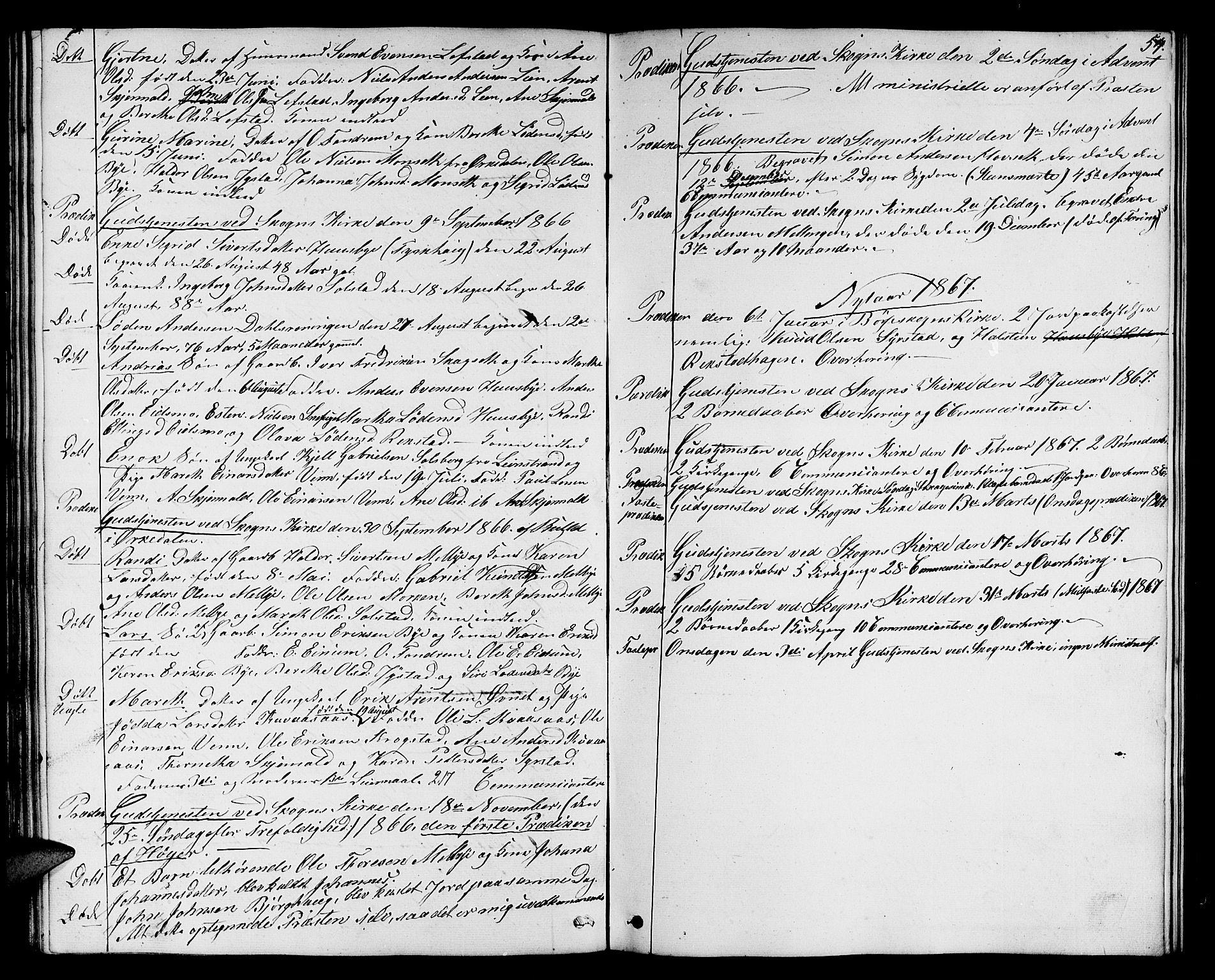 SAT, Ministerialprotokoller, klokkerbøker og fødselsregistre - Sør-Trøndelag, 667/L0797: Klokkerbok nr. 667C02, 1849-1867, s. 54