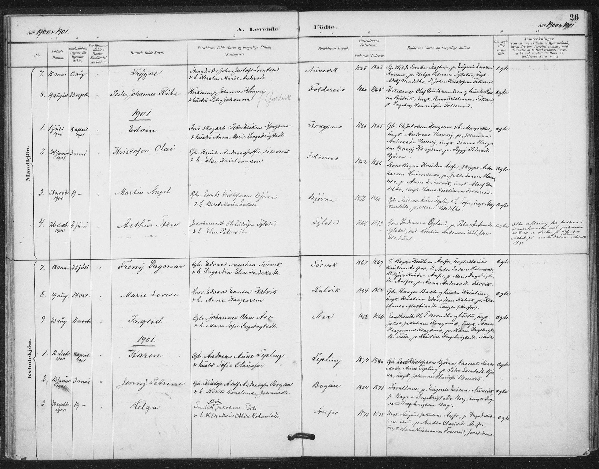 SAT, Ministerialprotokoller, klokkerbøker og fødselsregistre - Nord-Trøndelag, 783/L0660: Ministerialbok nr. 783A02, 1886-1918, s. 26