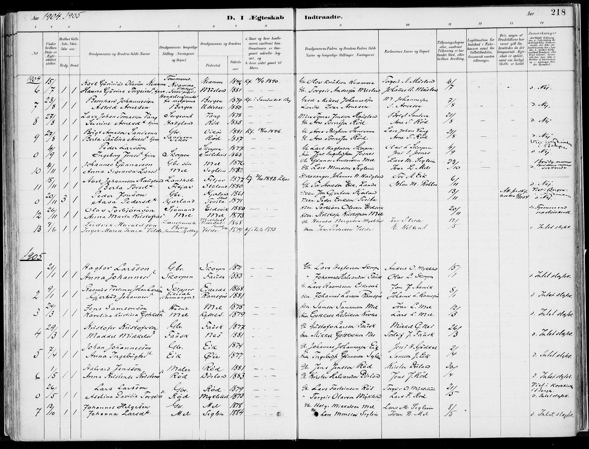 SAB, Kvinnherad Sokneprestembete, H/Haa: Ministerialbok nr. B  1, 1887-1921, s. 218