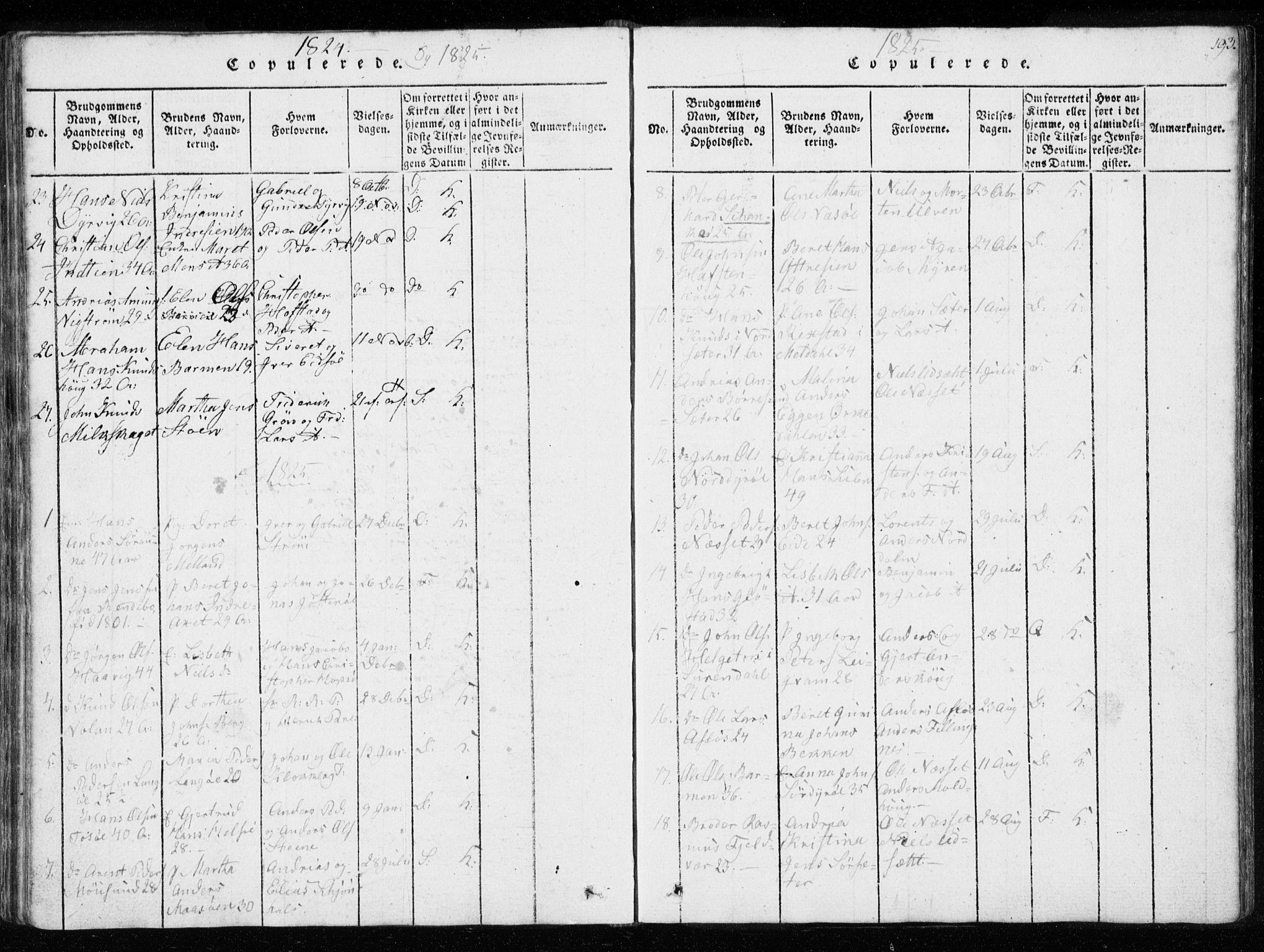 SAT, Ministerialprotokoller, klokkerbøker og fødselsregistre - Sør-Trøndelag, 634/L0527: Ministerialbok nr. 634A03, 1818-1826, s. 193