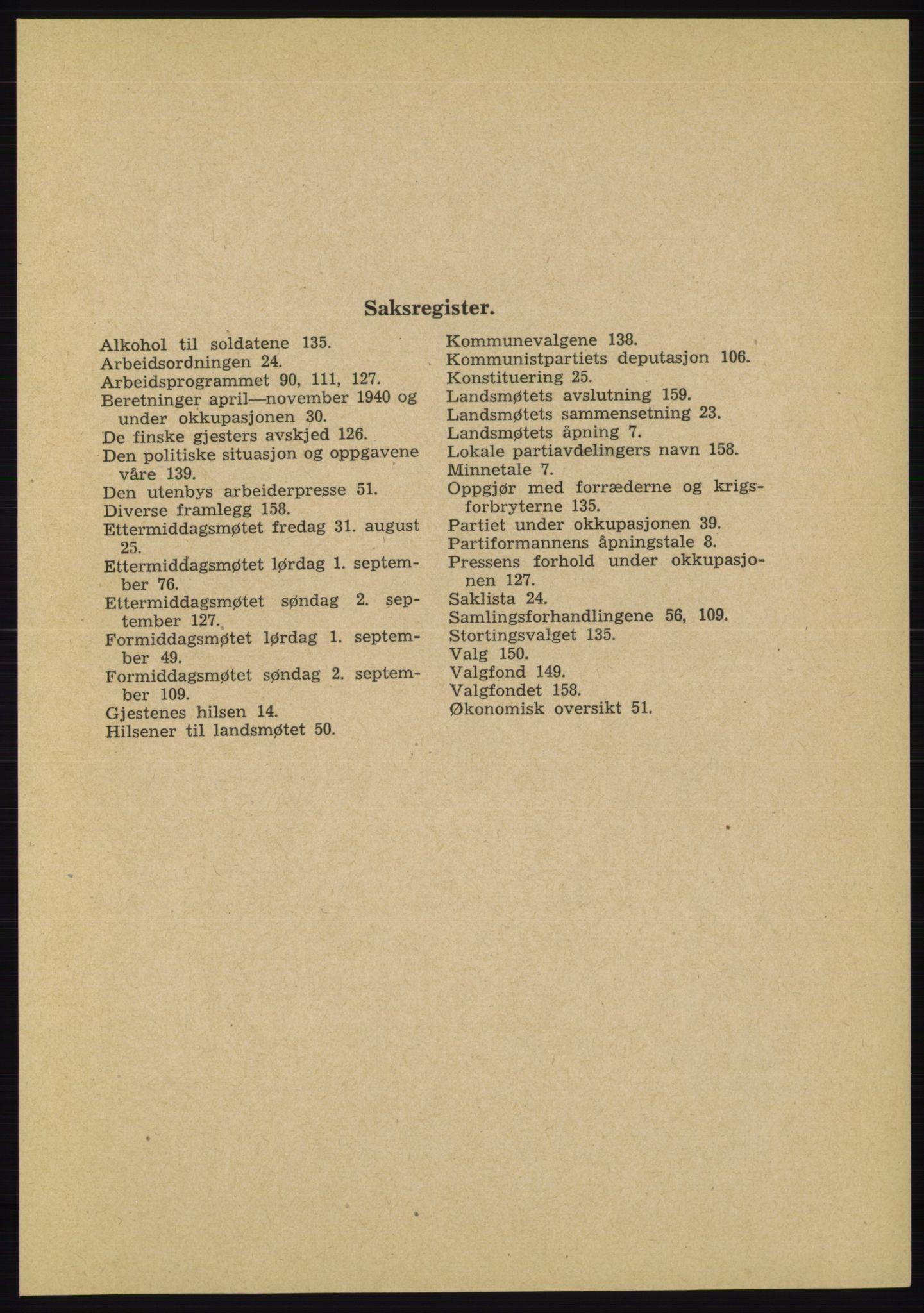 AAB, Det norske Arbeiderparti - publikasjoner, -/-: Protokoll over forhandlingene på landsmøtet 31. august og 1.-2. september 1945, 1945