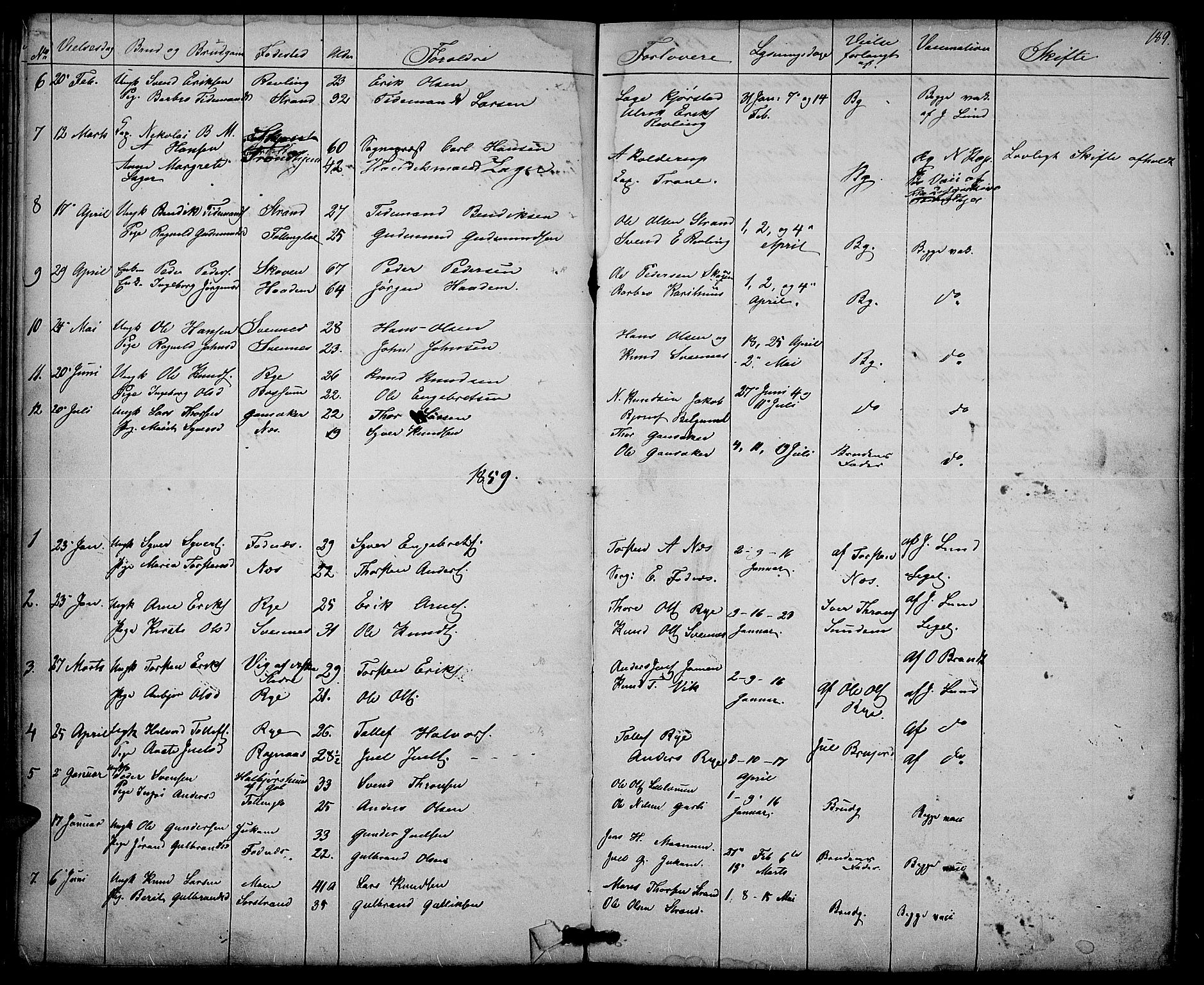SAH, Nord-Aurdal prestekontor, Klokkerbok nr. 3, 1842-1882, s. 189
