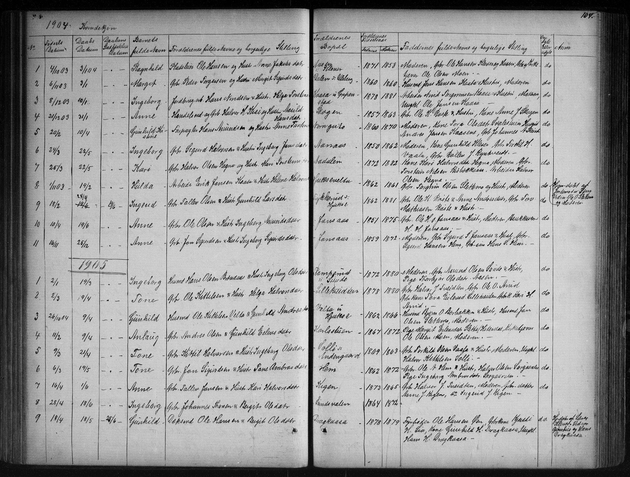 SAKO, Sauherad kirkebøker, G/Ga/L0003: Klokkerbok nr. I 3, 1866-1905, s. 104