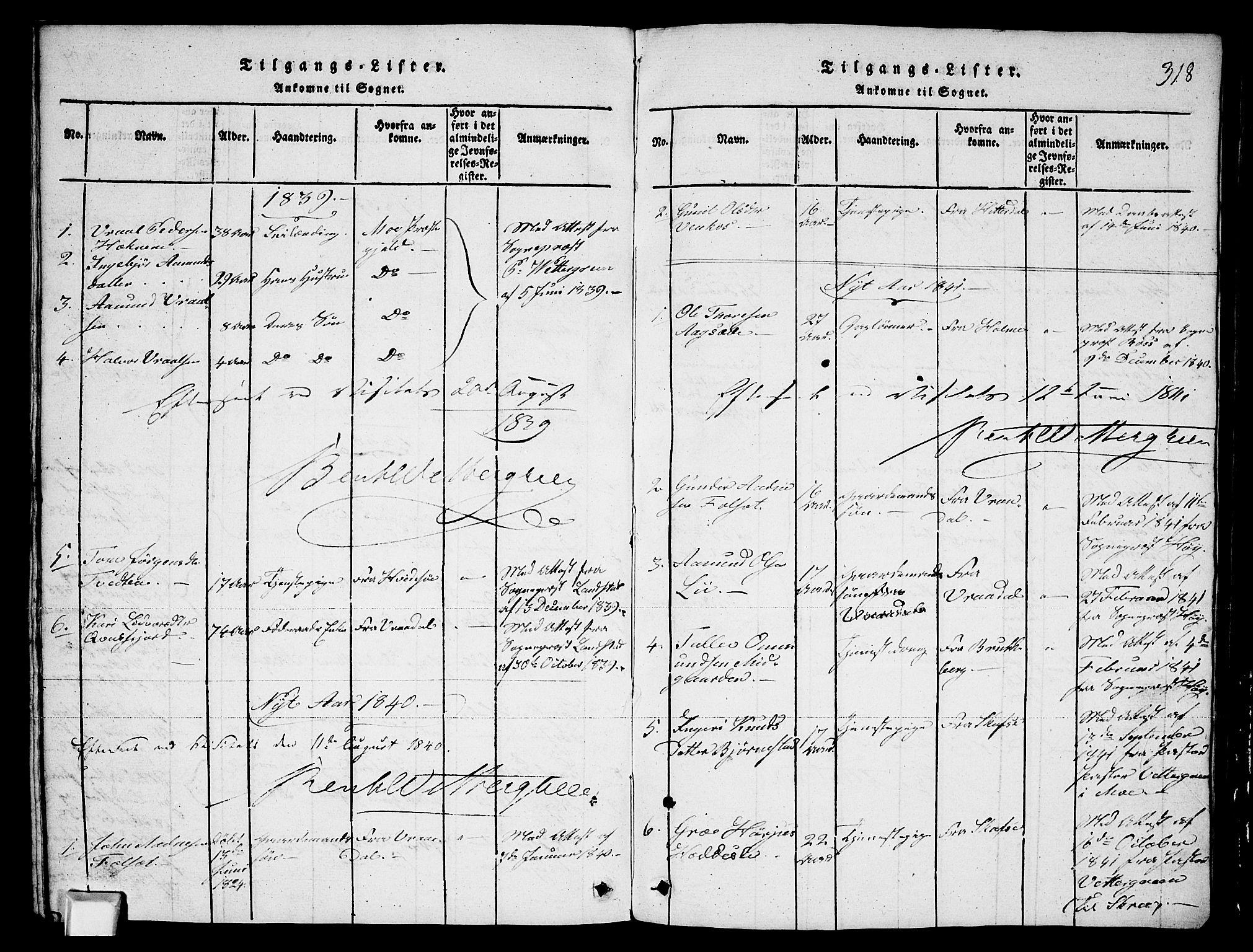 SAKO, Fyresdal kirkebøker, G/Ga/L0003: Klokkerbok nr. I 3, 1815-1863, s. 318
