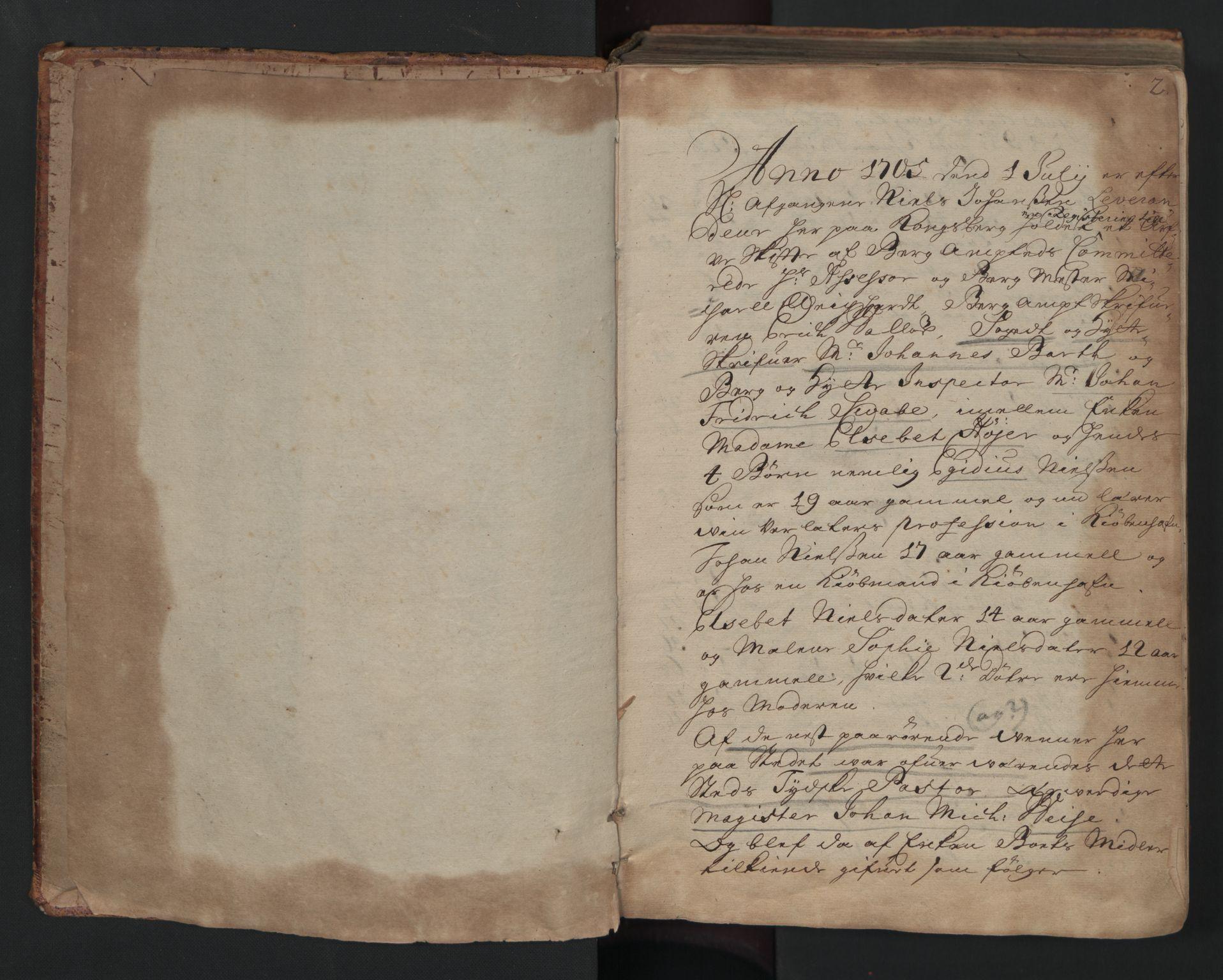 RA, Sønnafjelske bergamt , I/L0001: Skifteprotokoll for Kongsberg bergstad, 1705-1712, s. 1b-2a