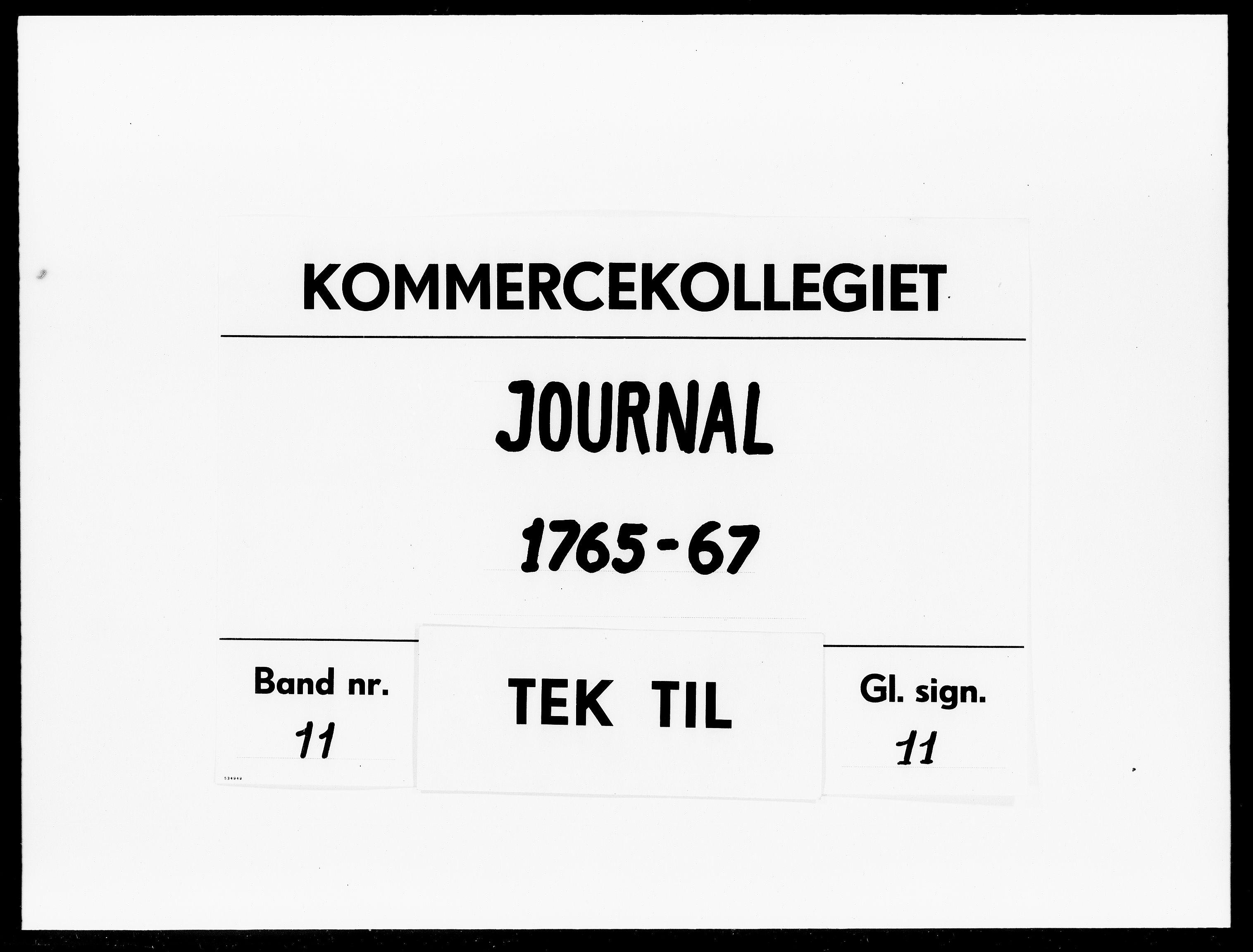 DRA, Kommercekollegiet, Dansk-Norske Sekretariat, -/59: Journal nr. 11, 1765-1767