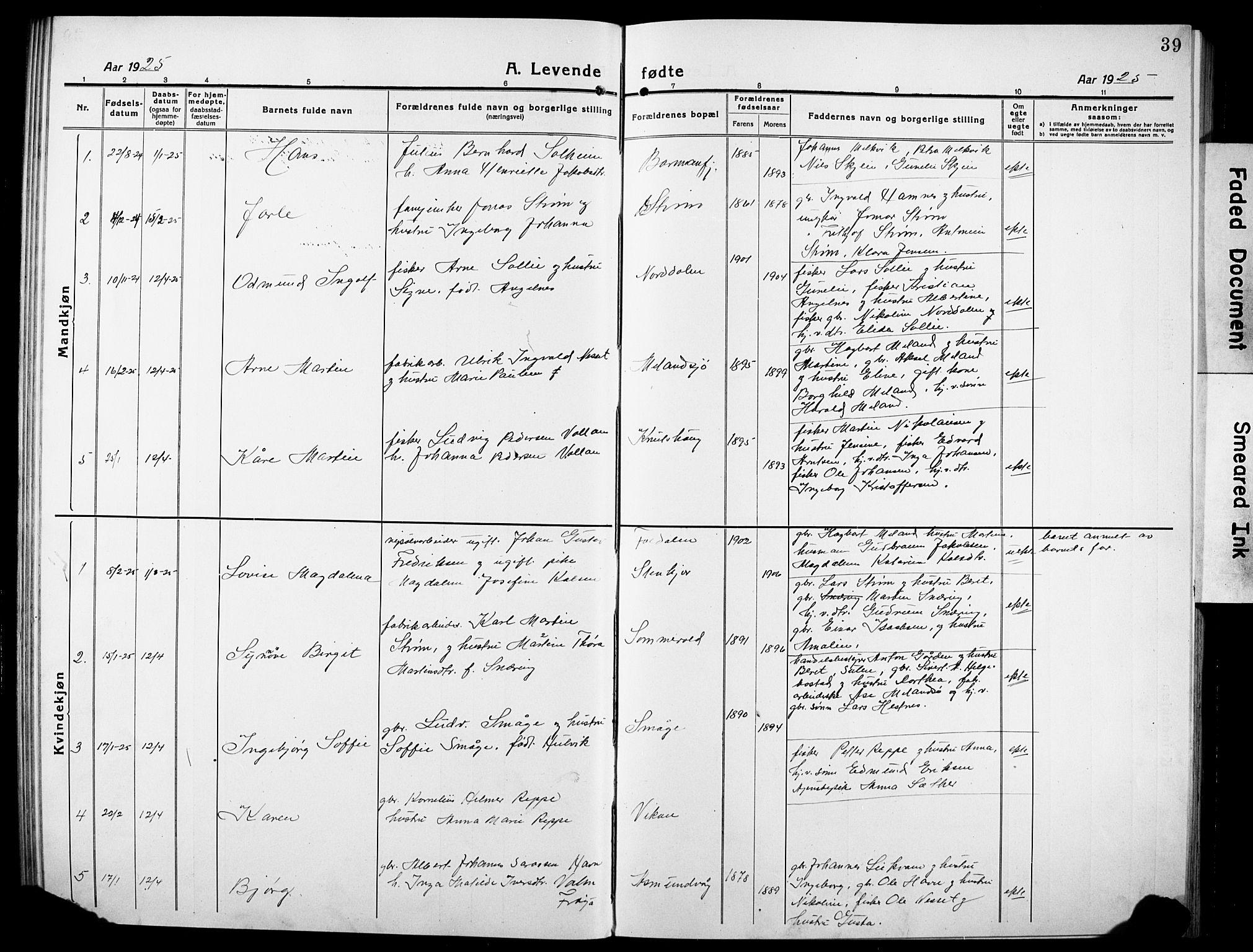 SAT, Ministerialprotokoller, klokkerbøker og fødselsregistre - Sør-Trøndelag, 634/L0543: Klokkerbok nr. 634C05, 1917-1928, s. 39