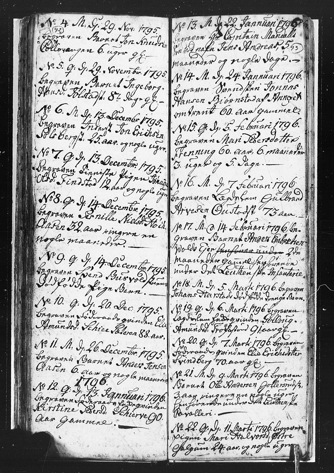 SAH, Romedal prestekontor, L/L0002: Klokkerbok nr. 2, 1795-1800, s. 92-93