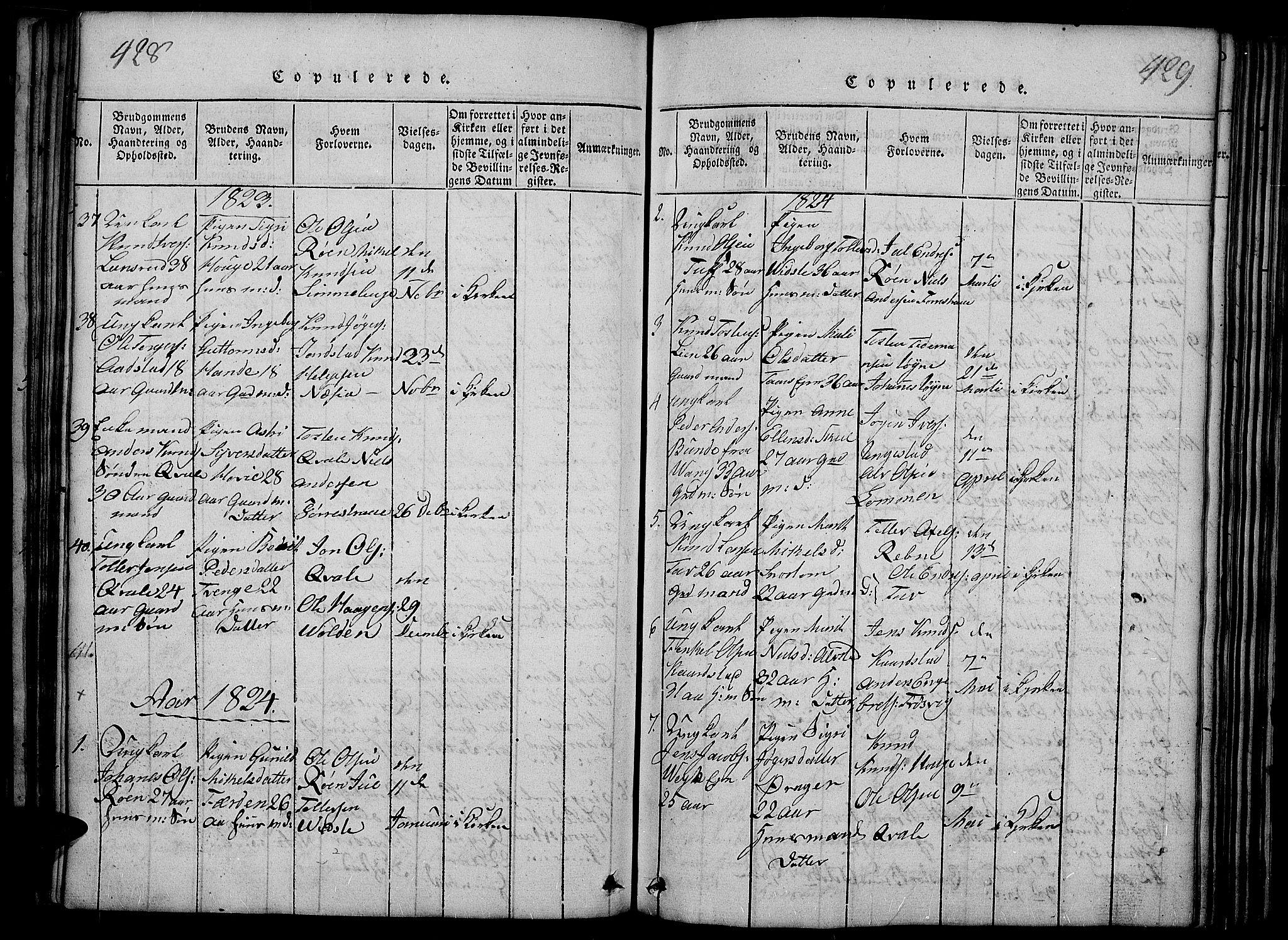 SAH, Slidre prestekontor, Ministerialbok nr. 2, 1814-1830, s. 428-429