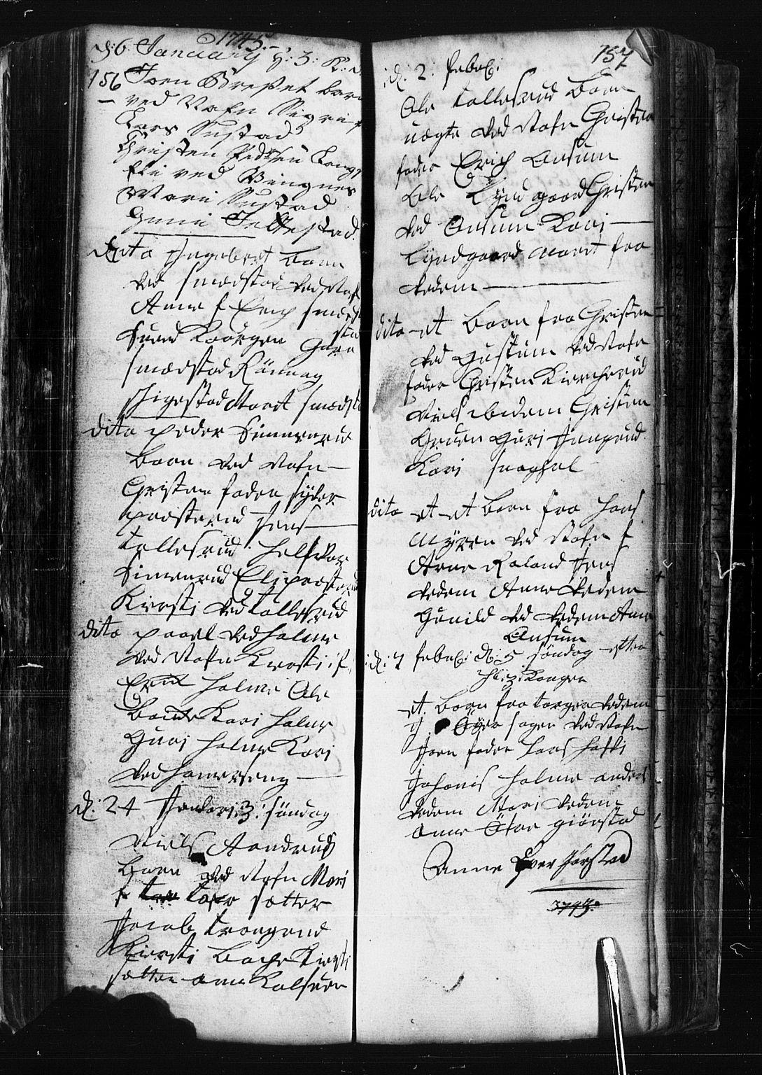 SAH, Fåberg prestekontor, Klokkerbok nr. 1, 1727-1767, s. 156-157
