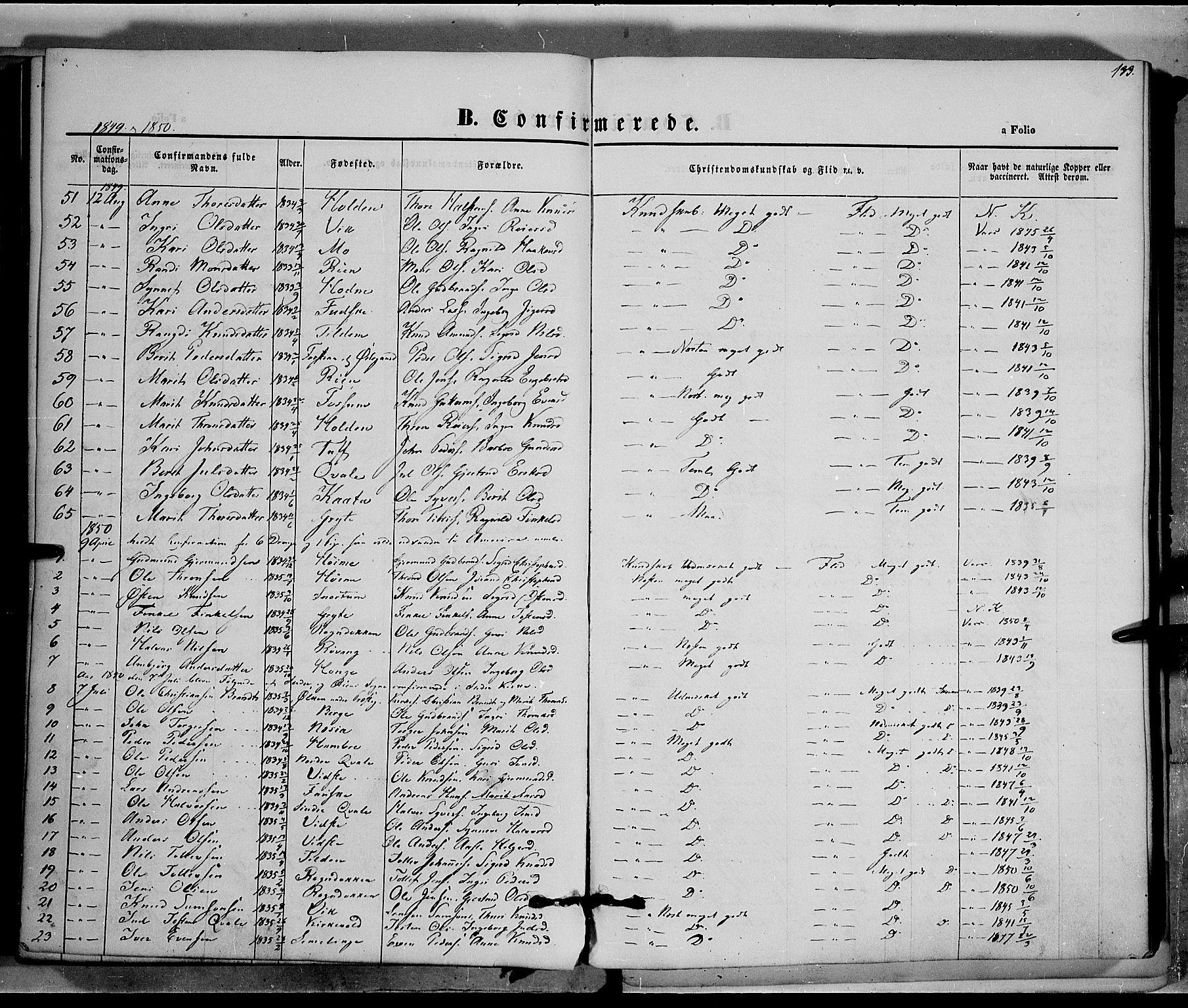 SAH, Vestre Slidre prestekontor, Ministerialbok nr. 1, 1844-1855, s. 133