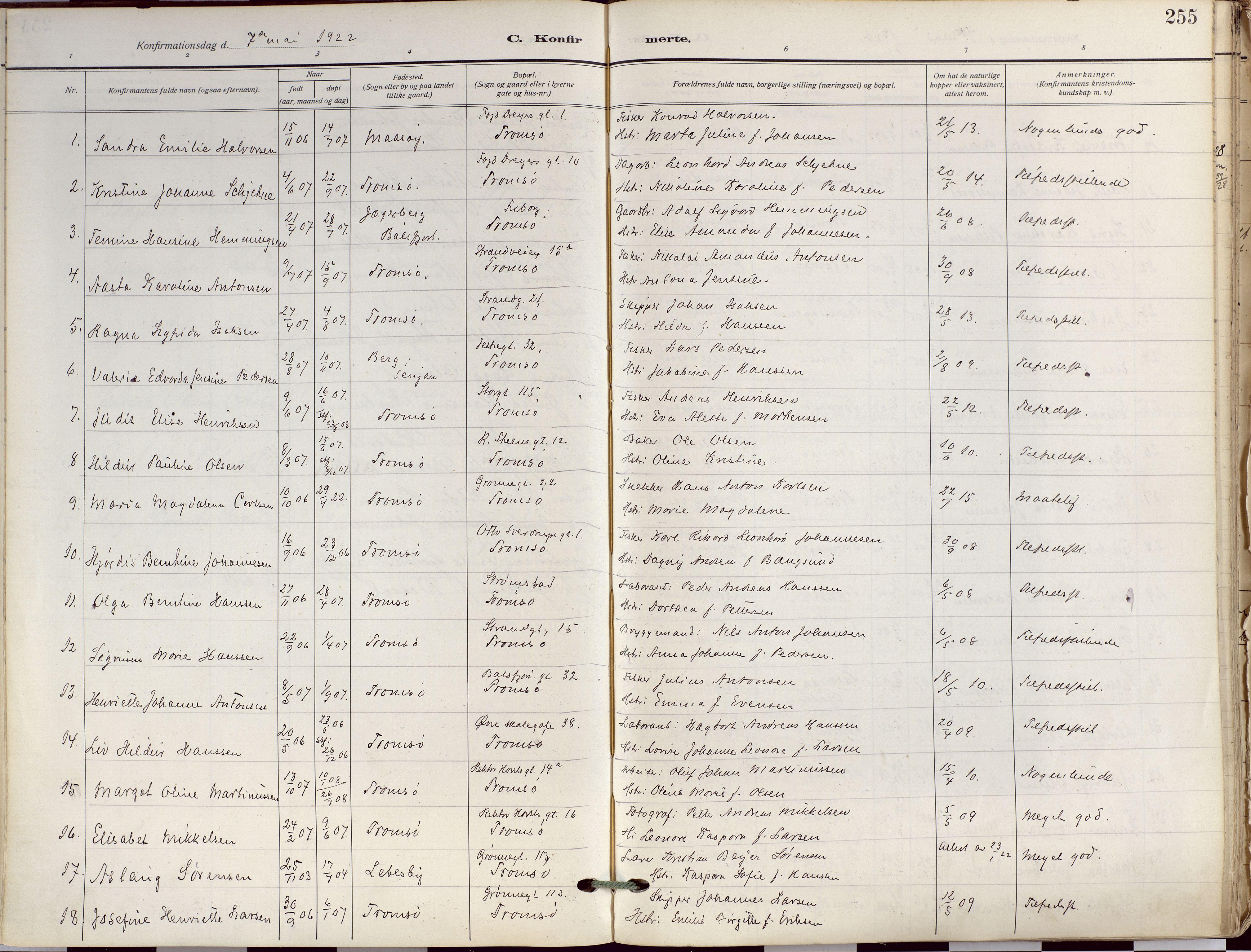 SATØ, Tromsø sokneprestkontor/stiftsprosti/domprosti, G/Ga/L0019kirke: Ministerialbok nr. 19, 1917-1927, s. 255