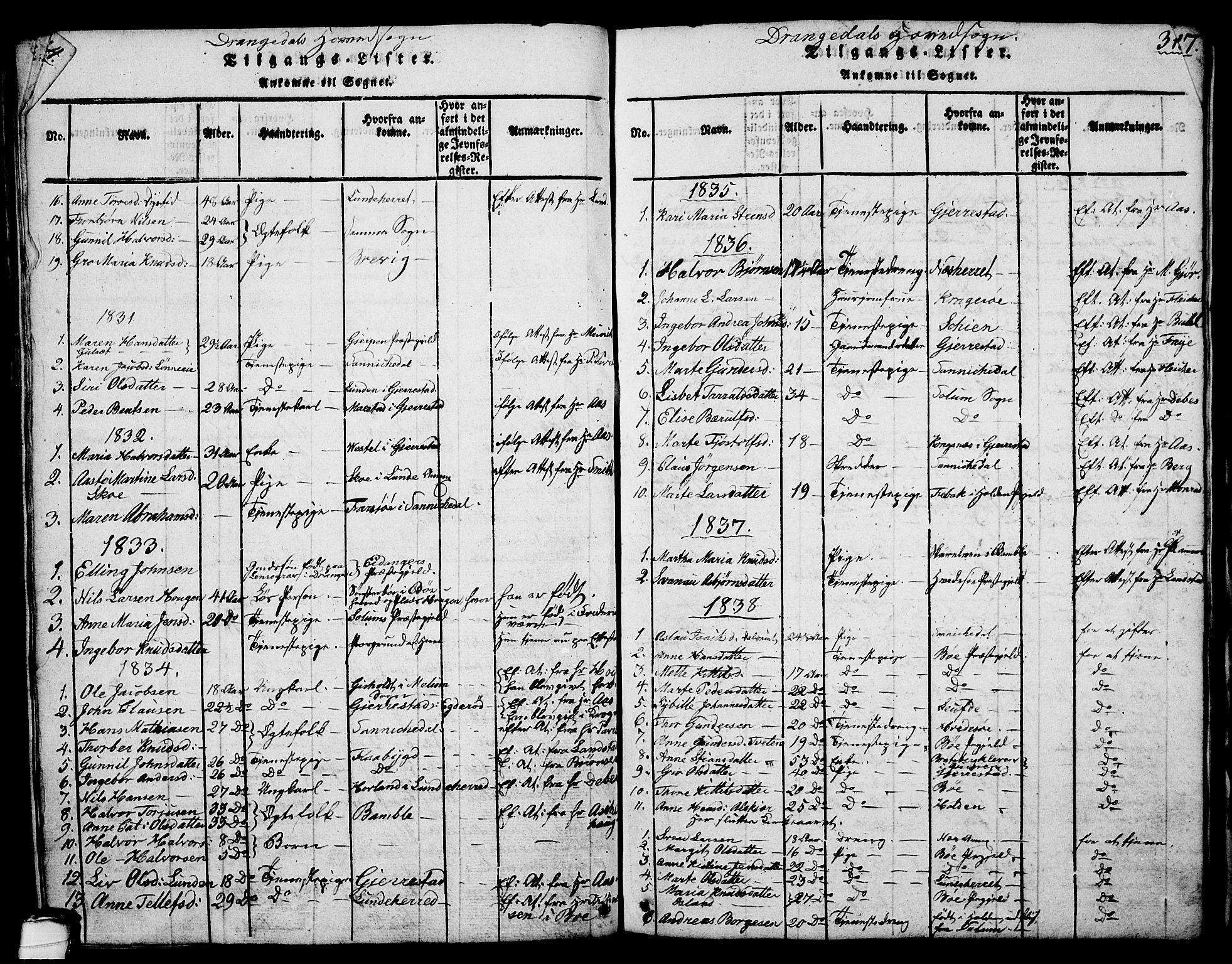 SAKO, Drangedal kirkebøker, G/Ga/L0001: Klokkerbok nr. I 1 /1, 1814-1856, s. 315