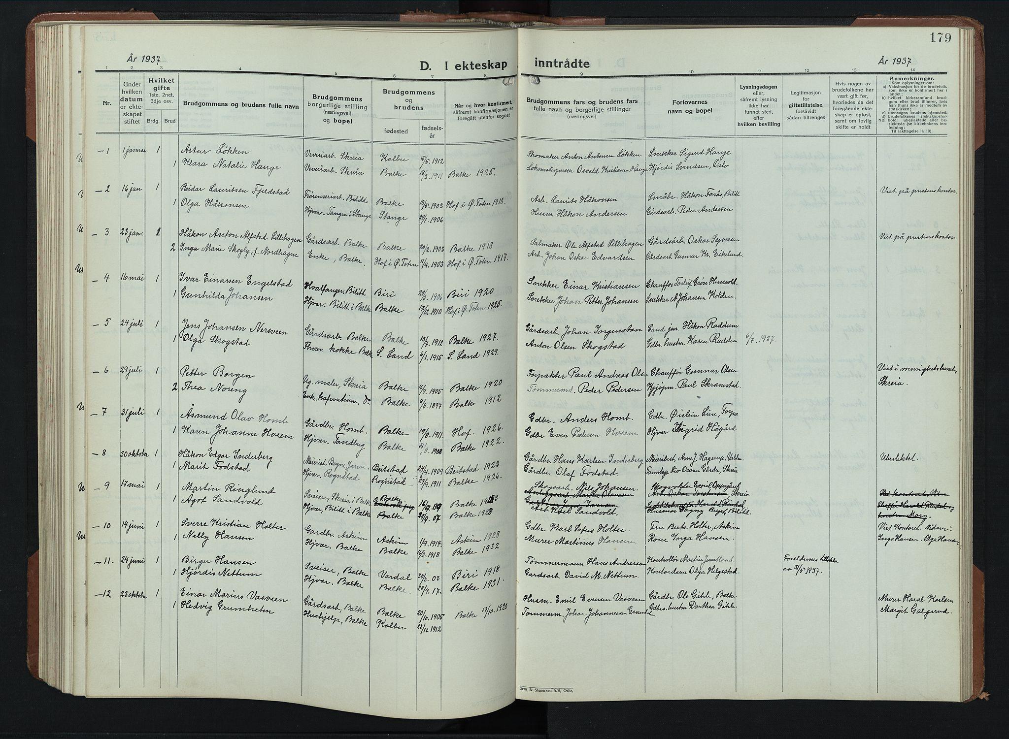 SAH, Balke prestekontor, Klokkerbok nr. 2, 1929-1951, s. 179